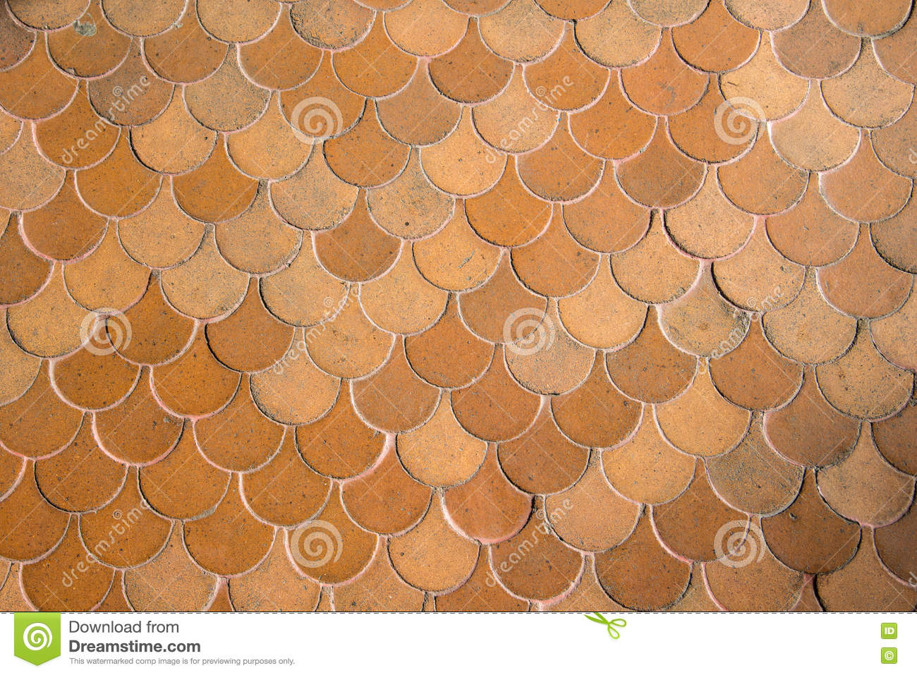 Antiques floor tiles brown semicircle arch form vintage style