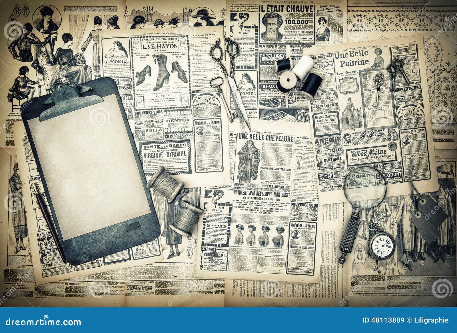 Antiquiteit die en het schrijven hulpmiddelen, uitstekend maniertijdschrift naaien