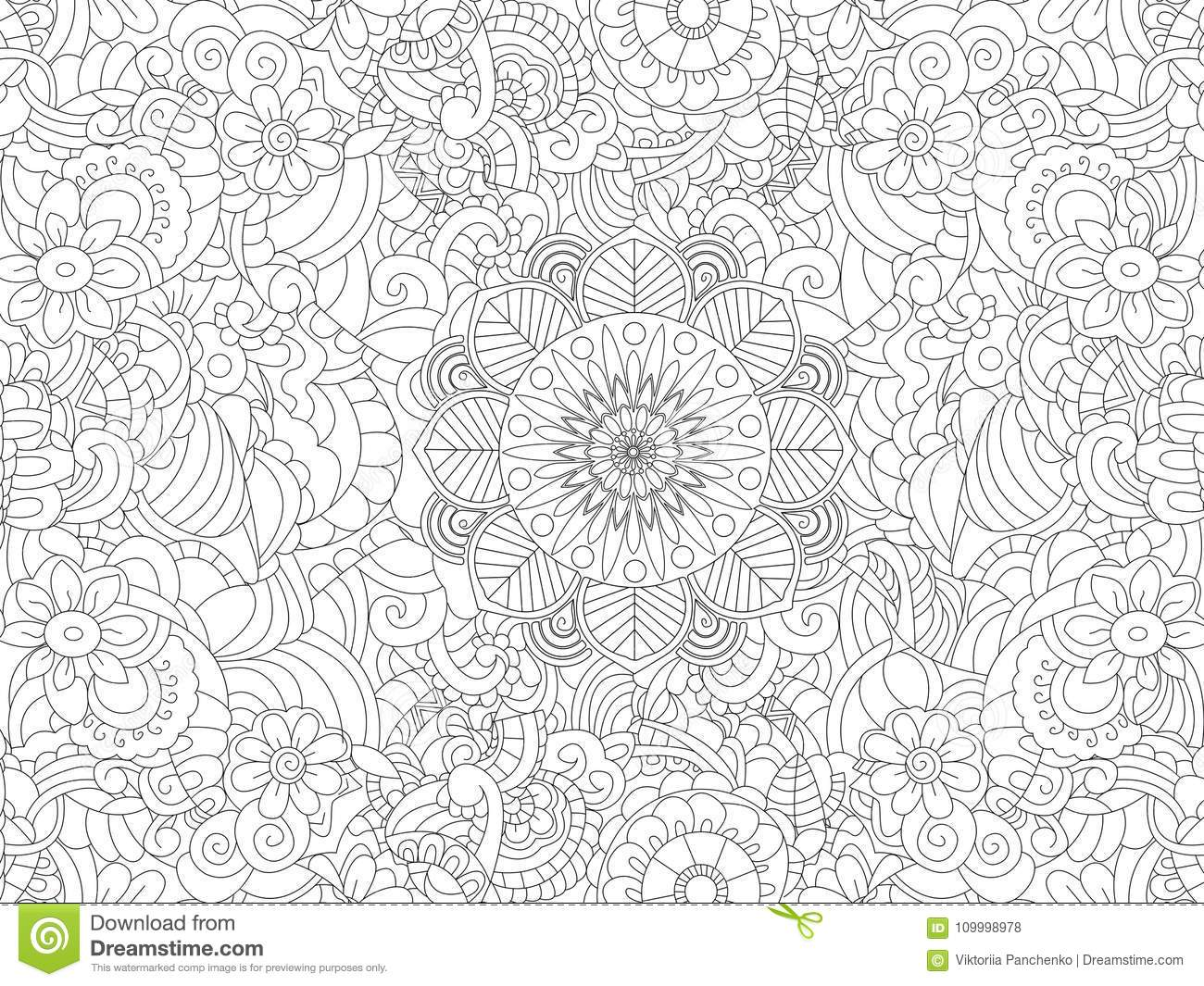 Download Antistress Coloring Book Floral Ornament On The Whole Leaf Black Lines White Background