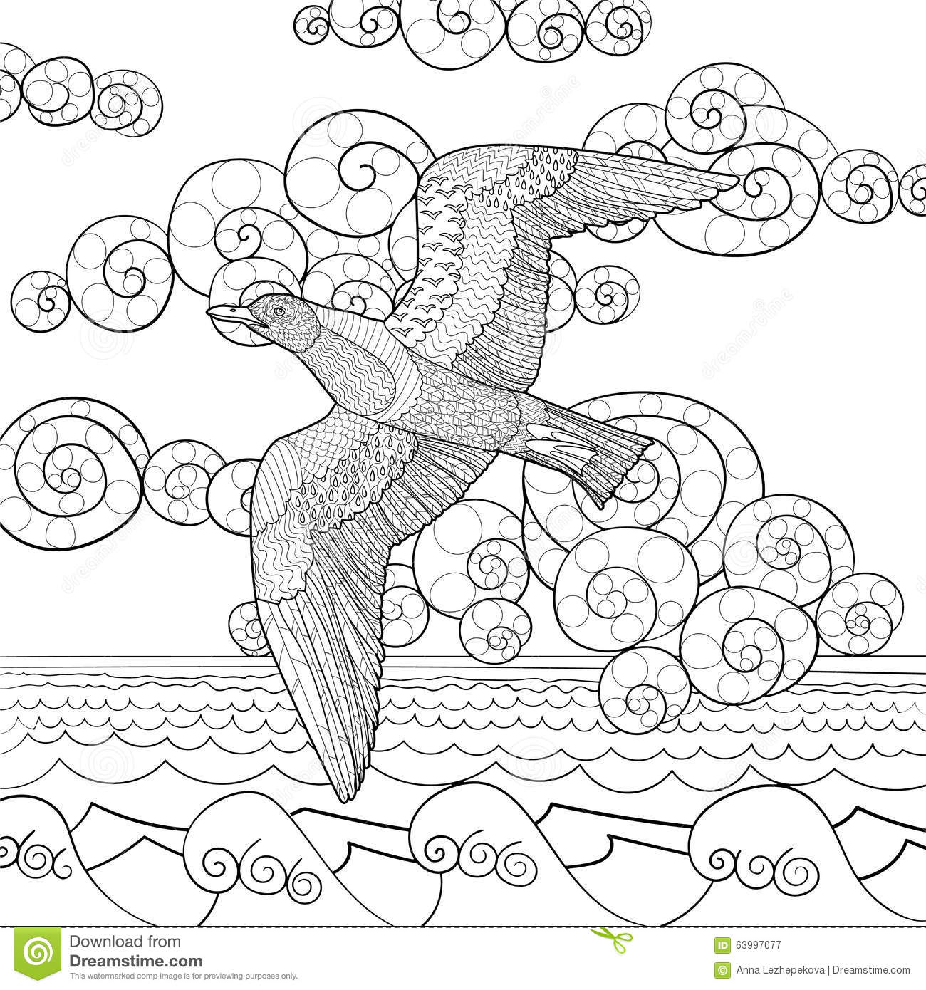 Download Antistress Coloring Page With Seagull Stock Vector