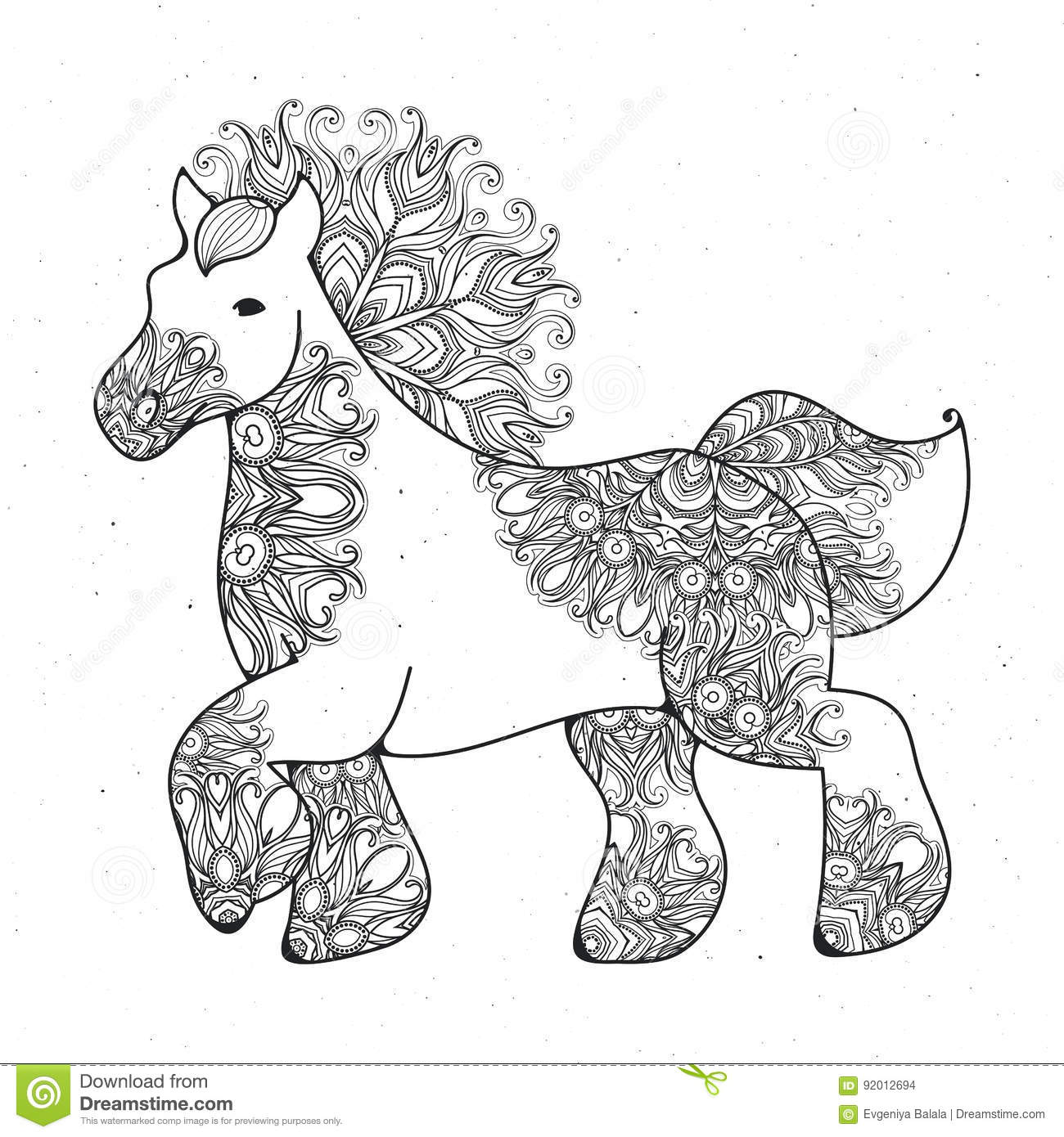 Antistress Linear Page With Horse Zentangle Animal For