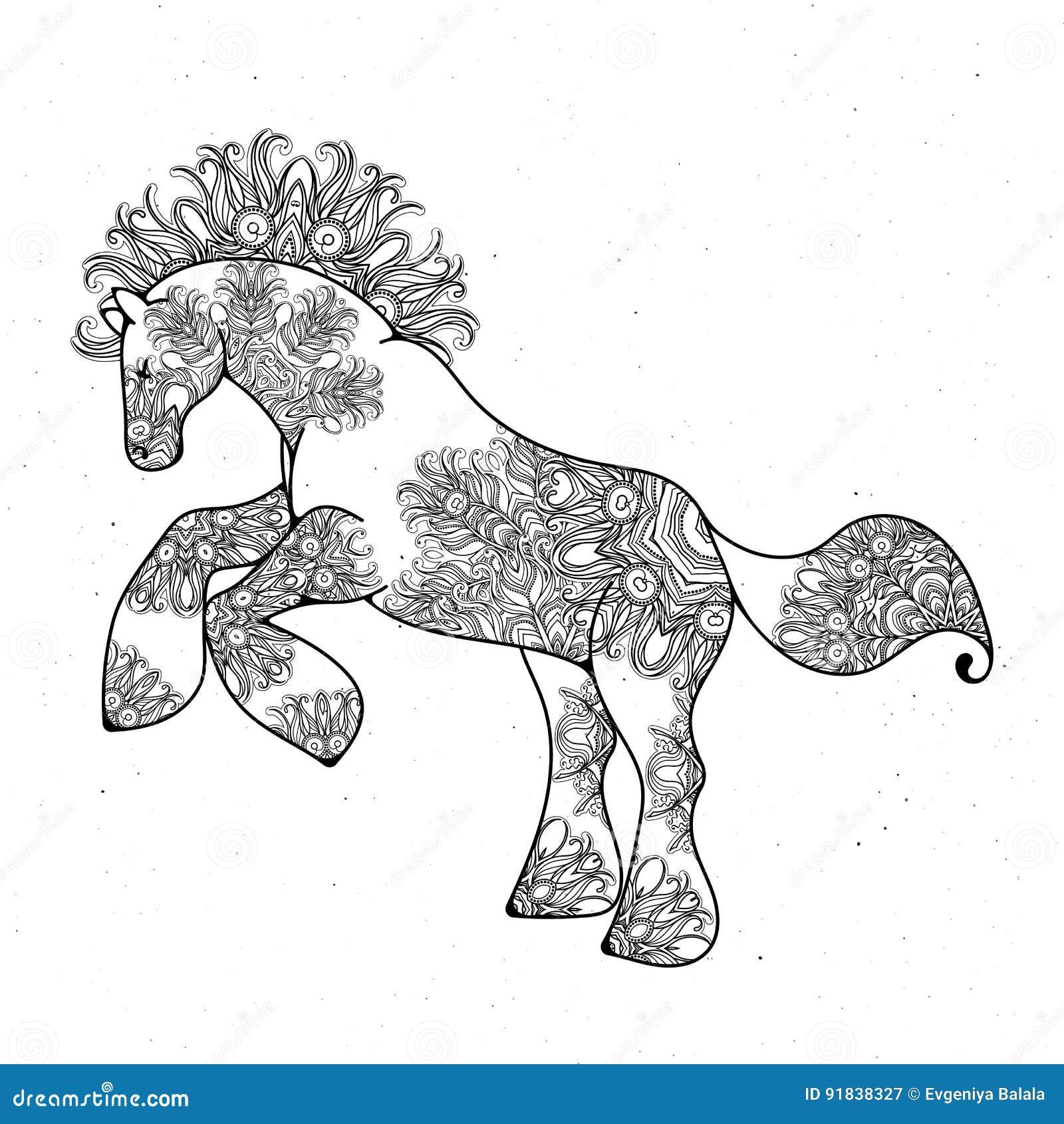 Antistress Lineare Seite Mit Pferd Zentangle-Tier Für Farbtonbuch ...