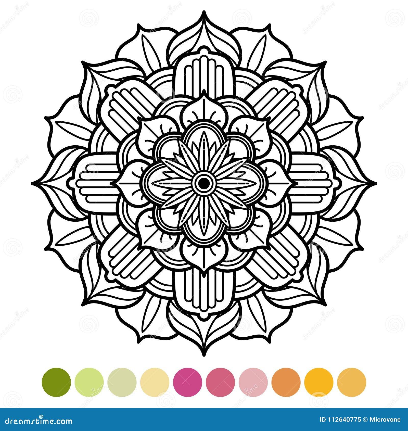 Antistress Mandala Coloring Page With Colors Sample