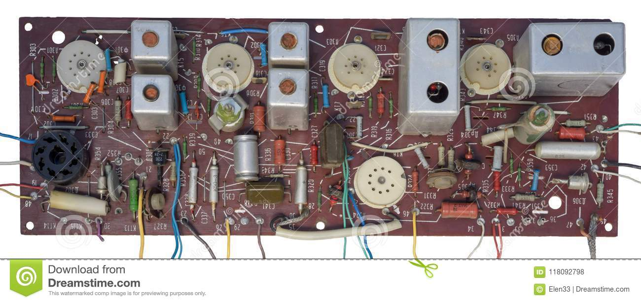 Antique Circuit Stock Photo Image Of Chip Obsolete 118092798 Wiring Resistors Antiue With Lot Transistors And Wires