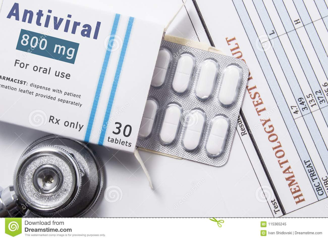 Antiviral drug. Open paper packaging box of medication with name group of drug Antiviral, blister with pills, next to stethoscope