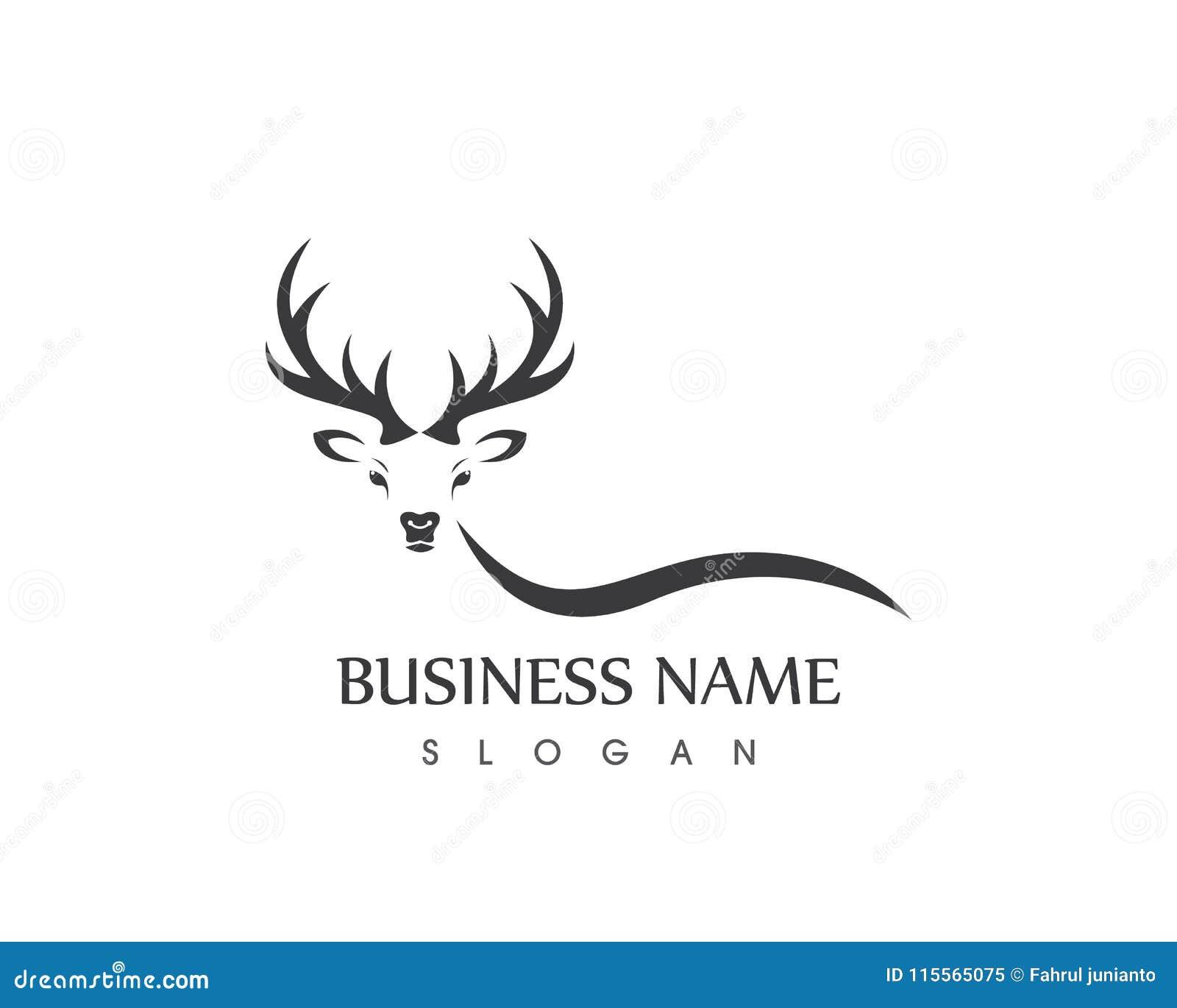 antler logo design template stock vector illustration of buck