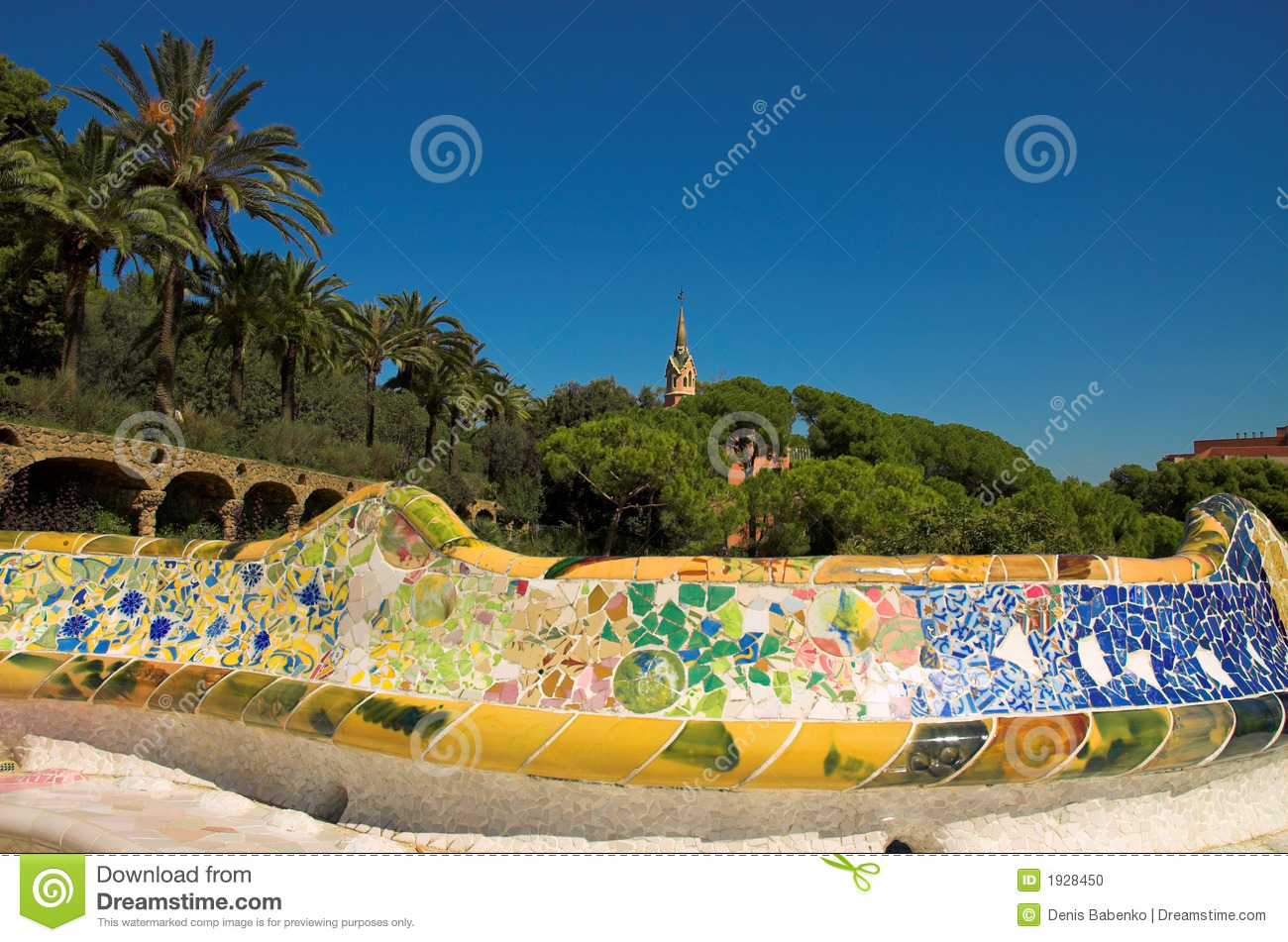 Antoni Gaudi Hause And Ceramic Bench In Park Guell Stock ...