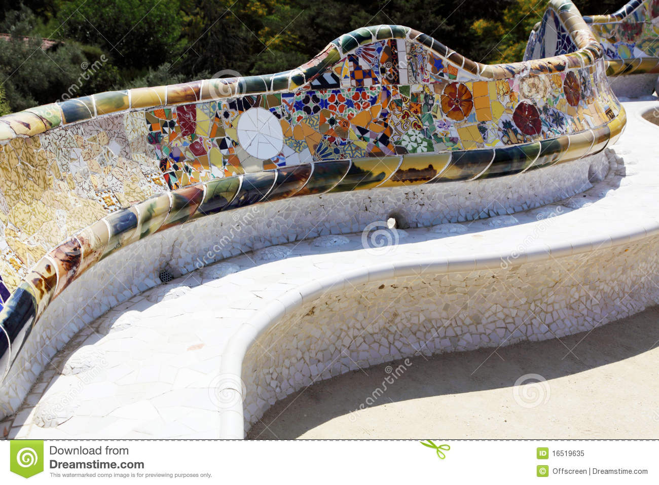 Antonio Gaudi - A Bench In Park Guell Royalty Free Stock Photo - Image ...
