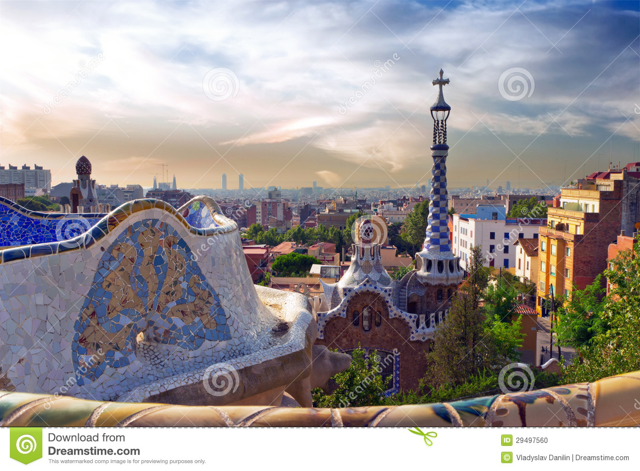 Antonio Gaudi In Park Guell, Barcelona Stock Photo - Image ...