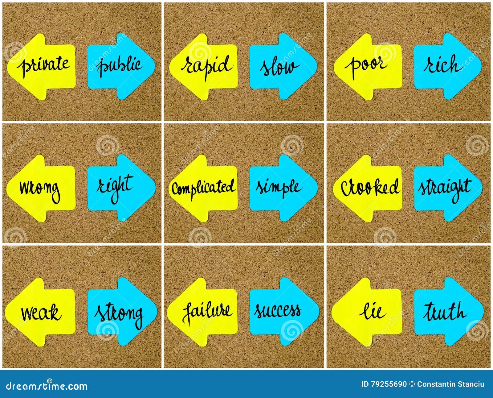 Antonym Concepts Written On Opposite Arrows Stock