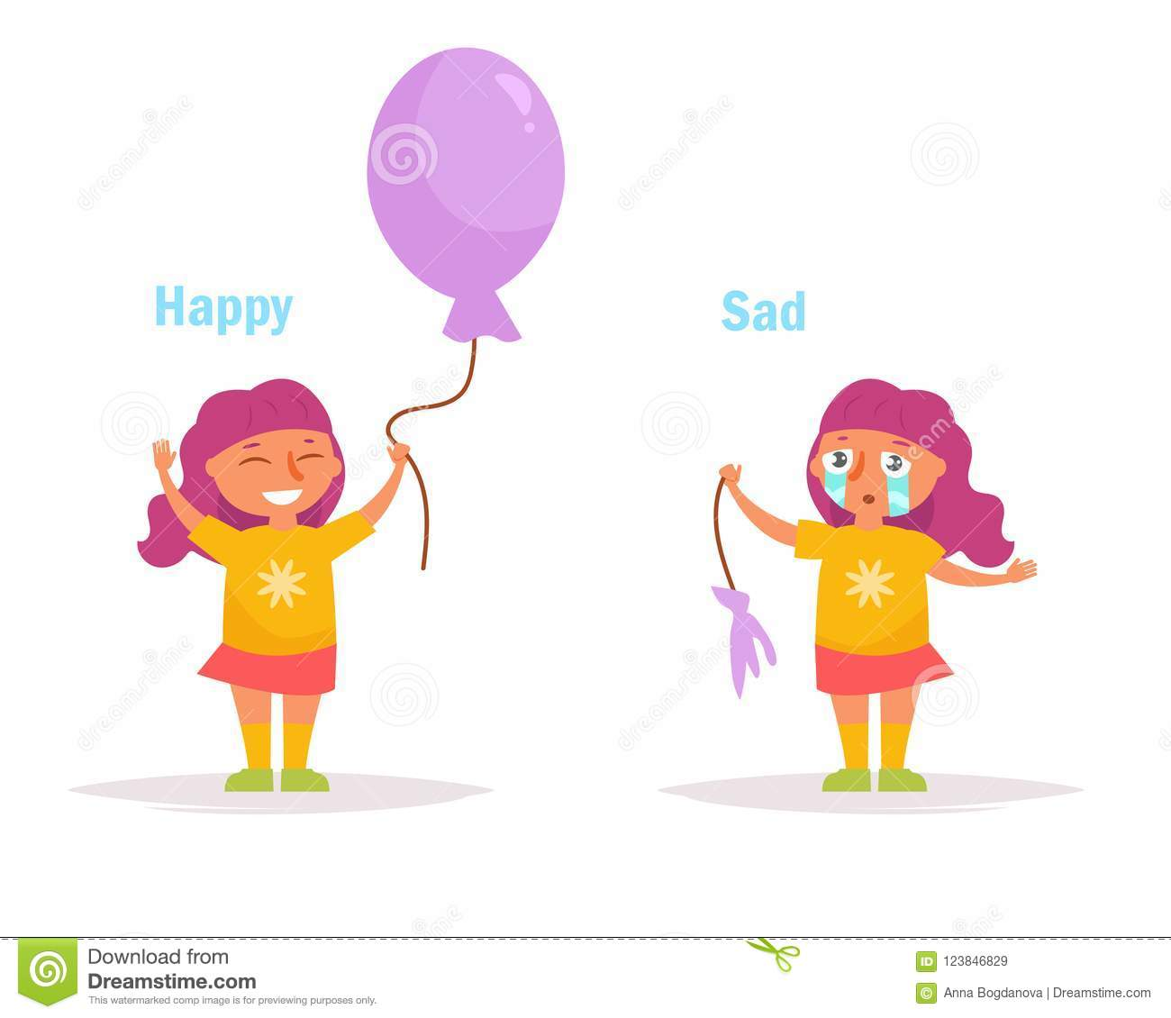 Antonyms  Happy Sad Girl With A Whole And A Burst Balloon