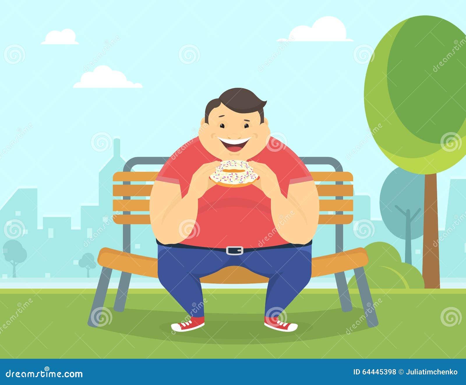 Antropófago gordo feliz un buñuelo grande en el parque