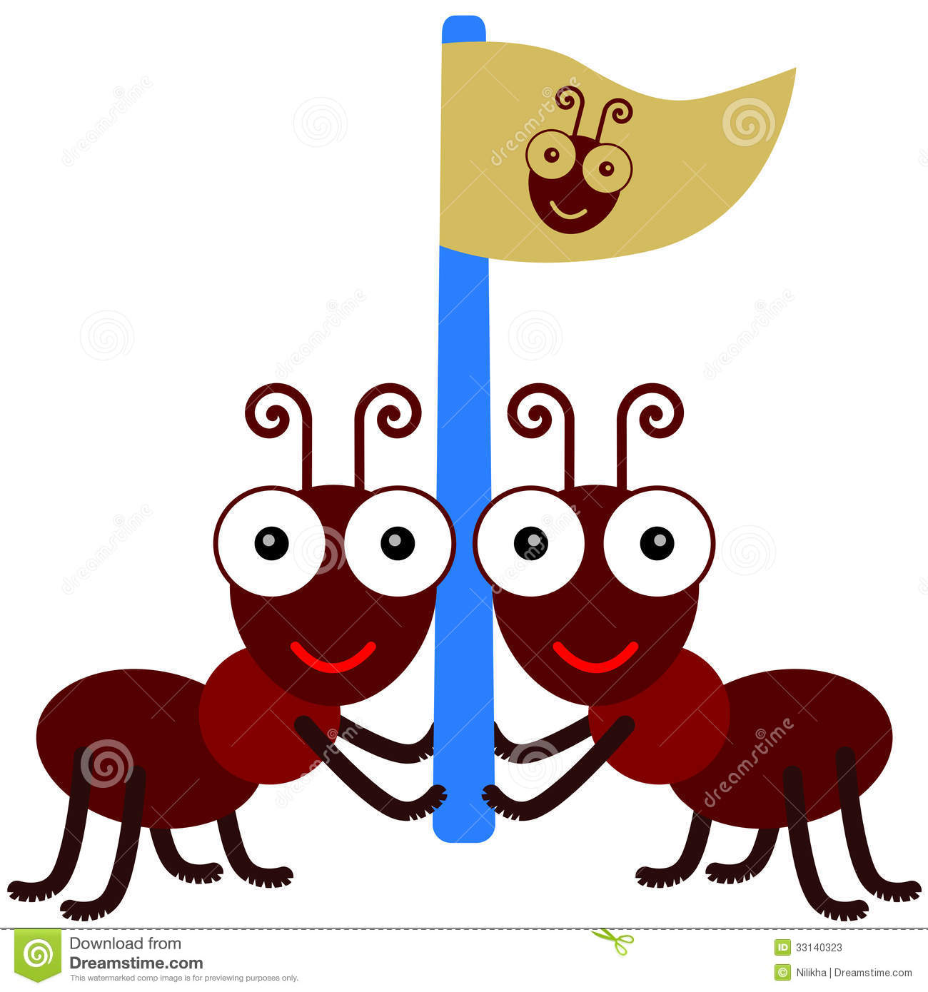 Helping Each Other: Ants And A Flag Stock Photos