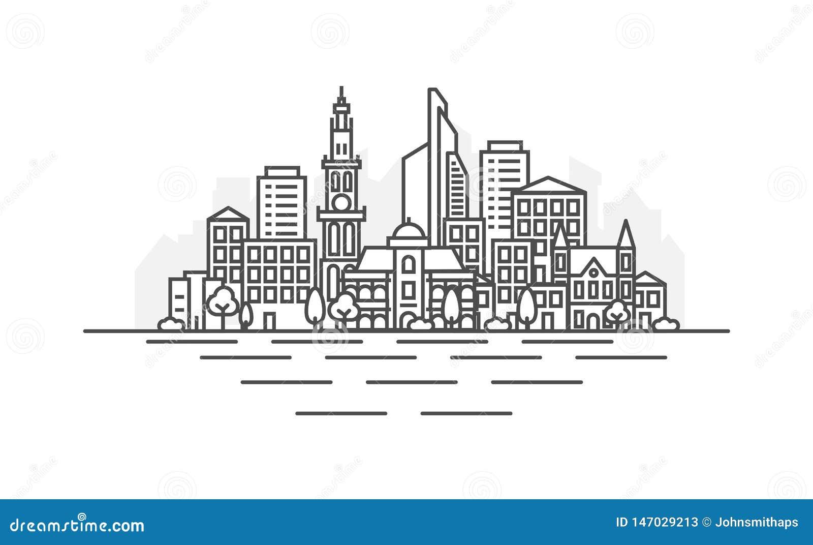 Antwerp, Belgia architektury linii linia horyzontu ilustracja Liniowy wektorowy pejza? miejski z s?awnymi punktami zwrotnymi, mia