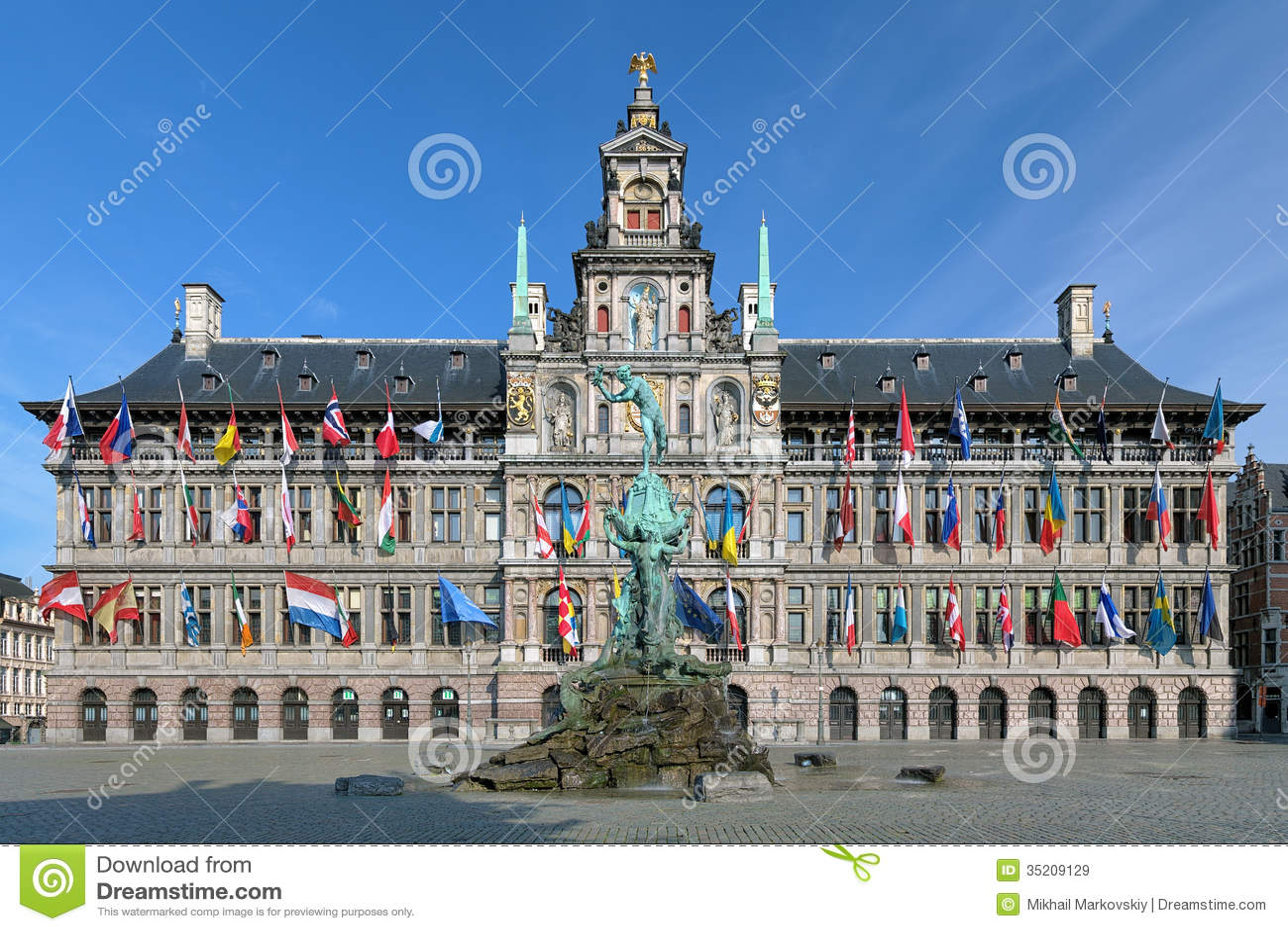 Antwerp Brabo i urzędu miasta fontanna, Belgia