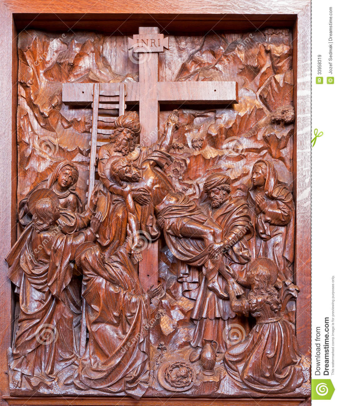 Antwerp carved deposition of the cross relief in st