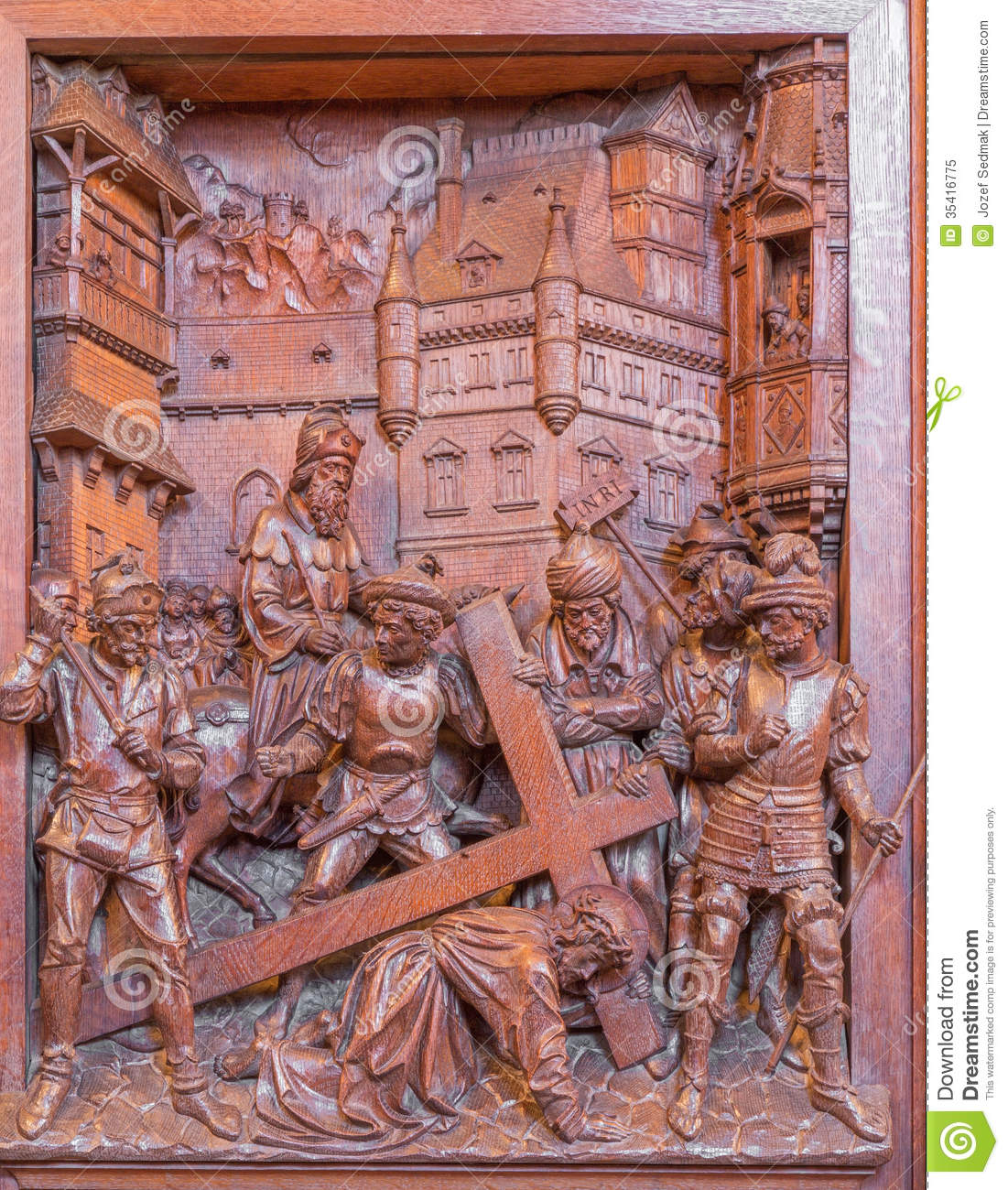 Antwerp fall of jesus under cross carved relief in st