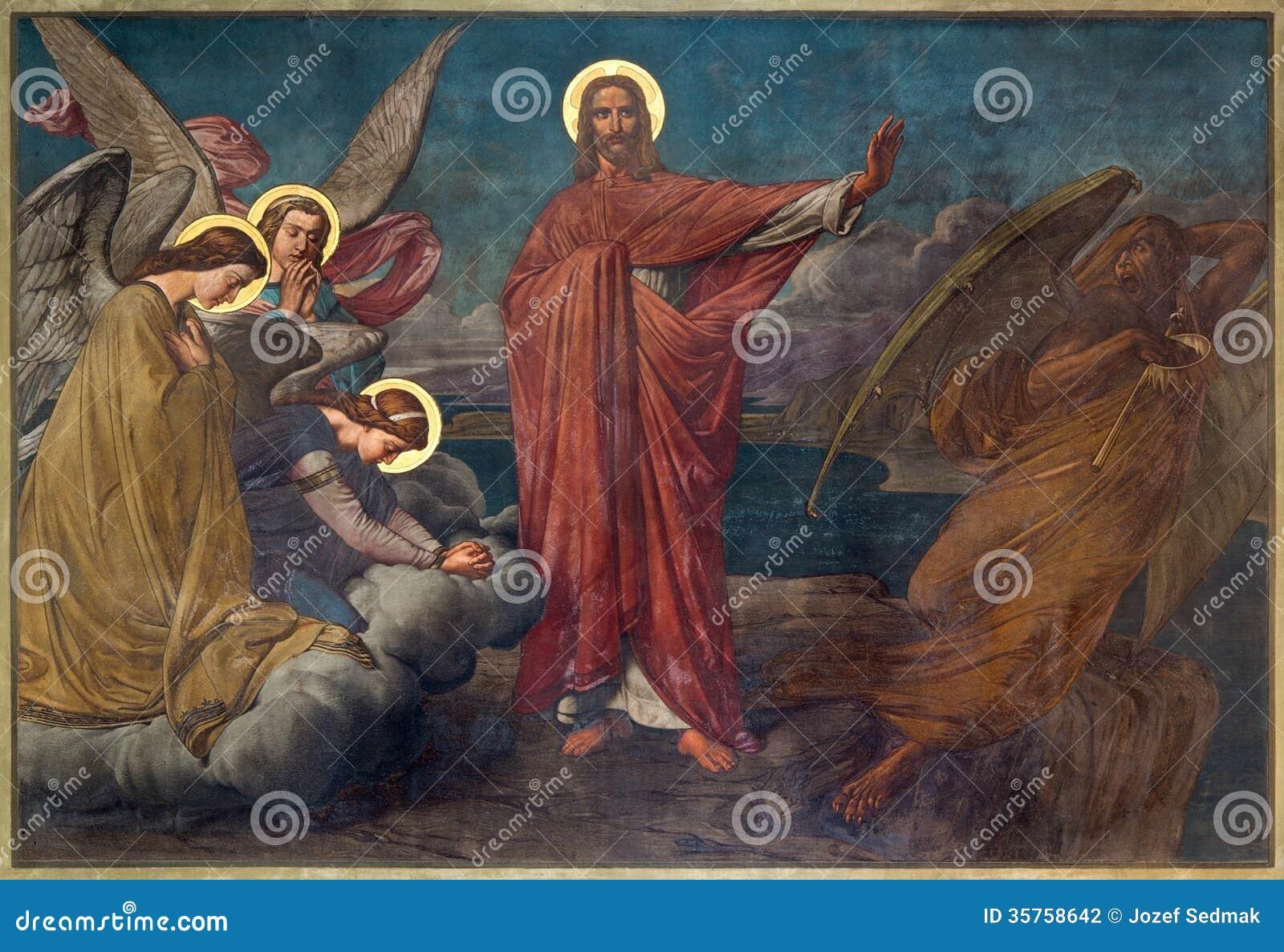 Antwerp - Fresco of Temptation of Jesus in Joriskerk or st. George church from 19. cent.