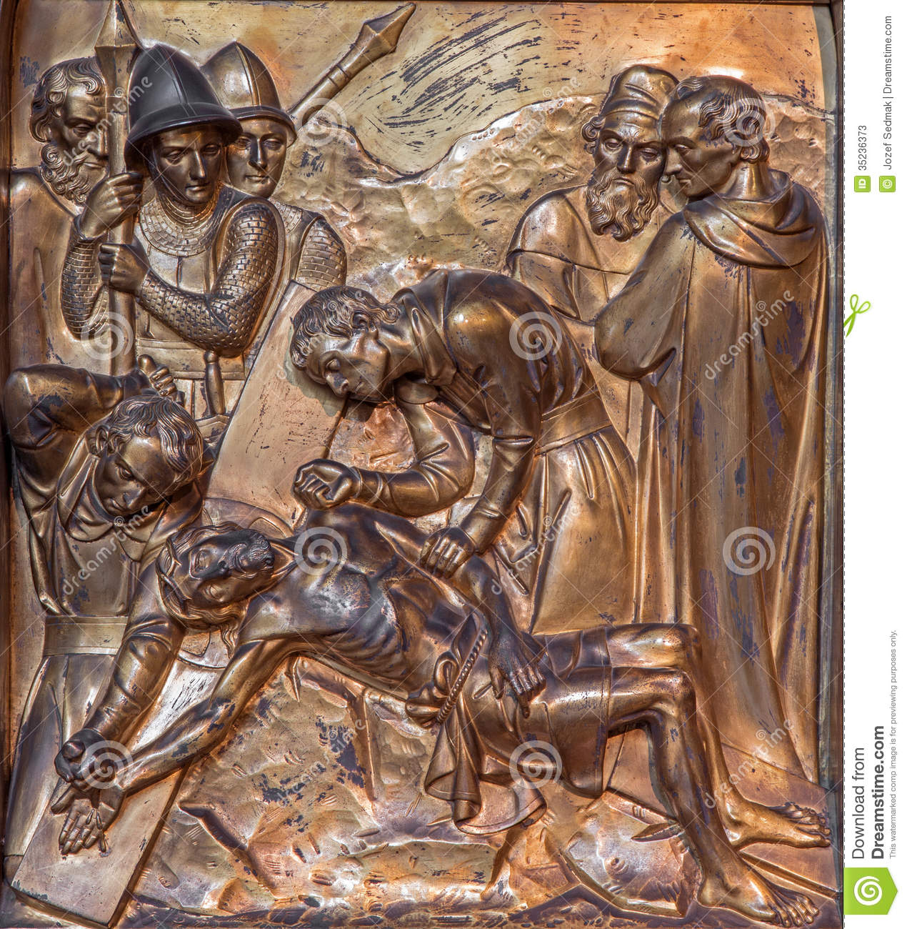 antwerp jesus is nailed to the cross metal relief from