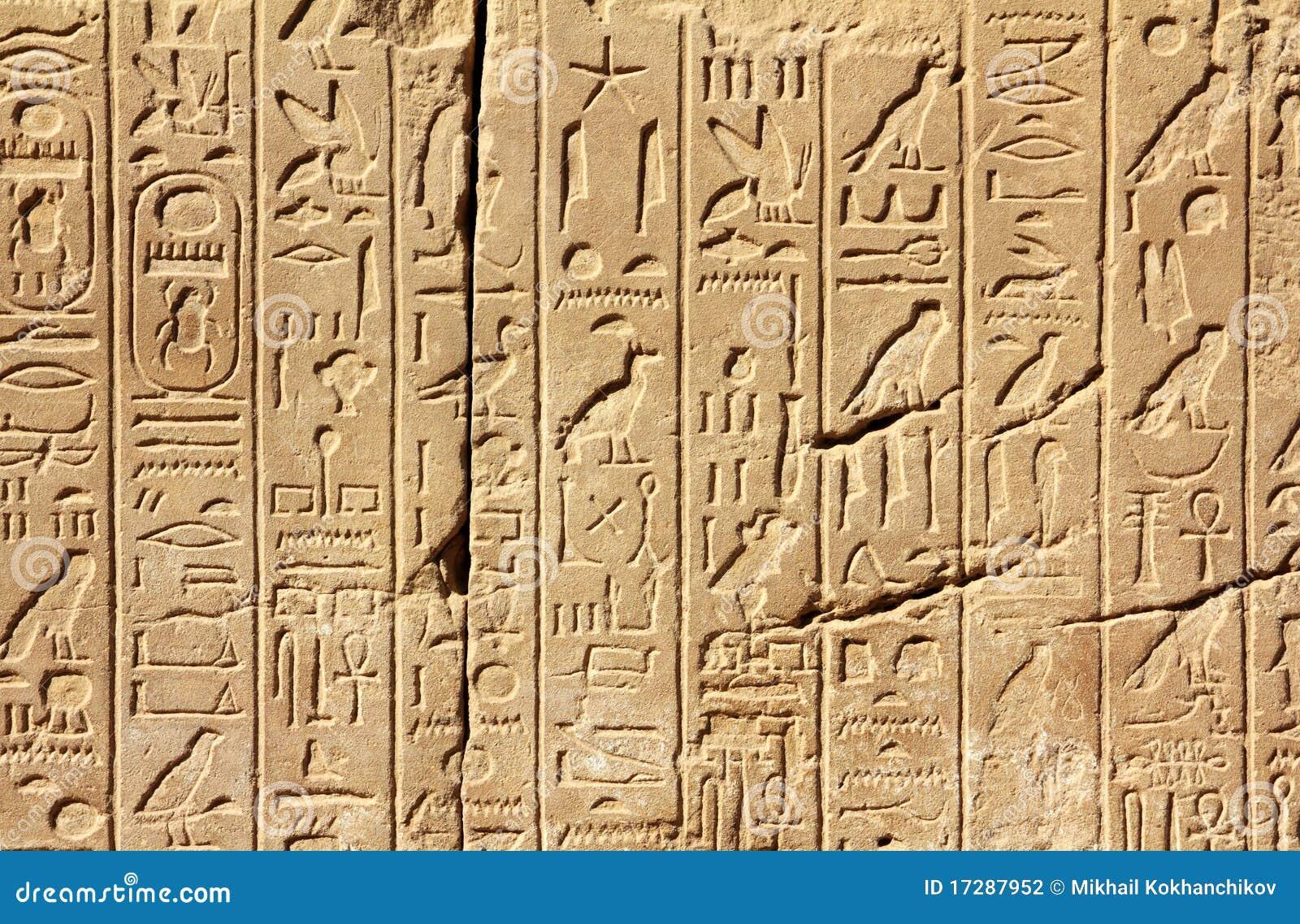 Antyczna Egypt hieroglyphics ściana
