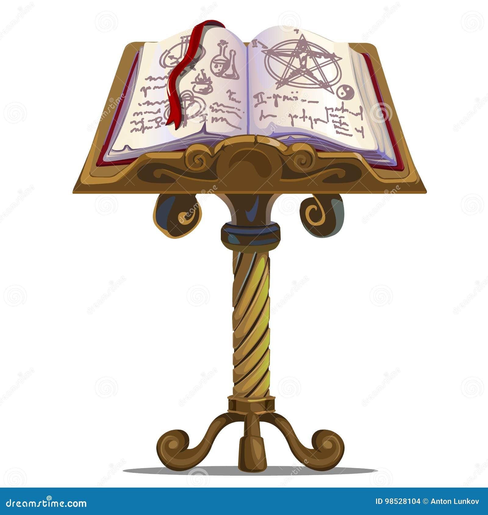 Antyczna książka czary z symbolami na stojaku