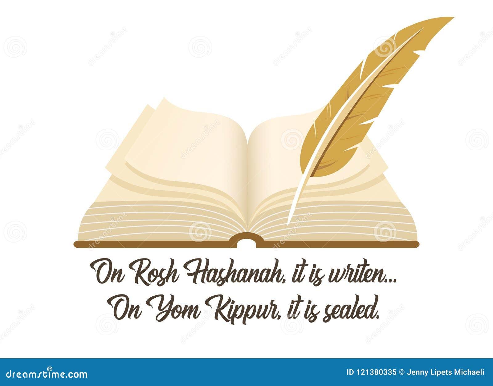 Antyczna książka symbol Żydowski wakacyjny Yom Kipur z tradycyjnym zwrotem