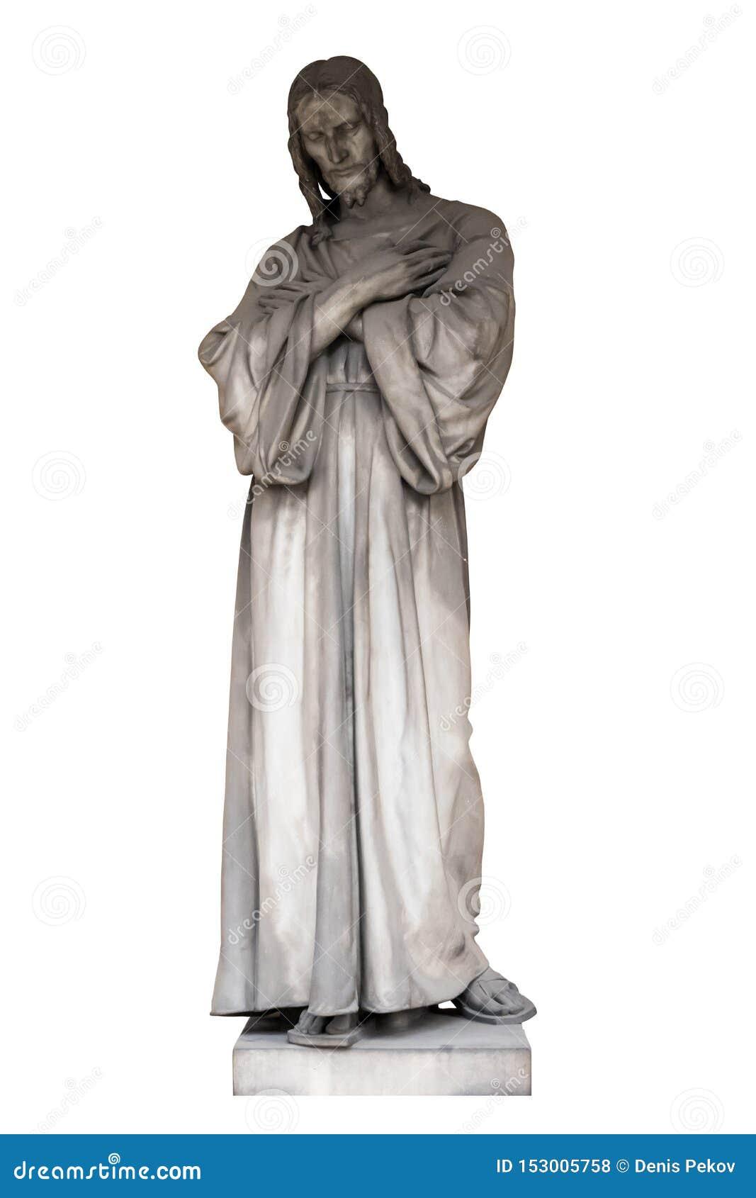 Antyczna rzeźba jezus chrystus, odizolowywa na białym tle