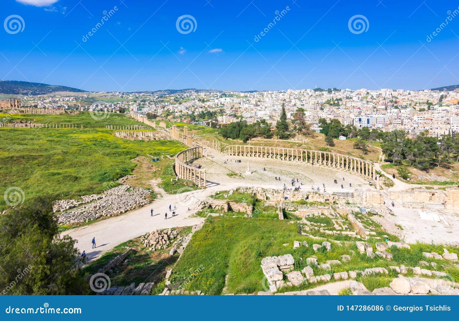 Antyczne i rzymskie ruiny Jerash Gerasa, Jordania