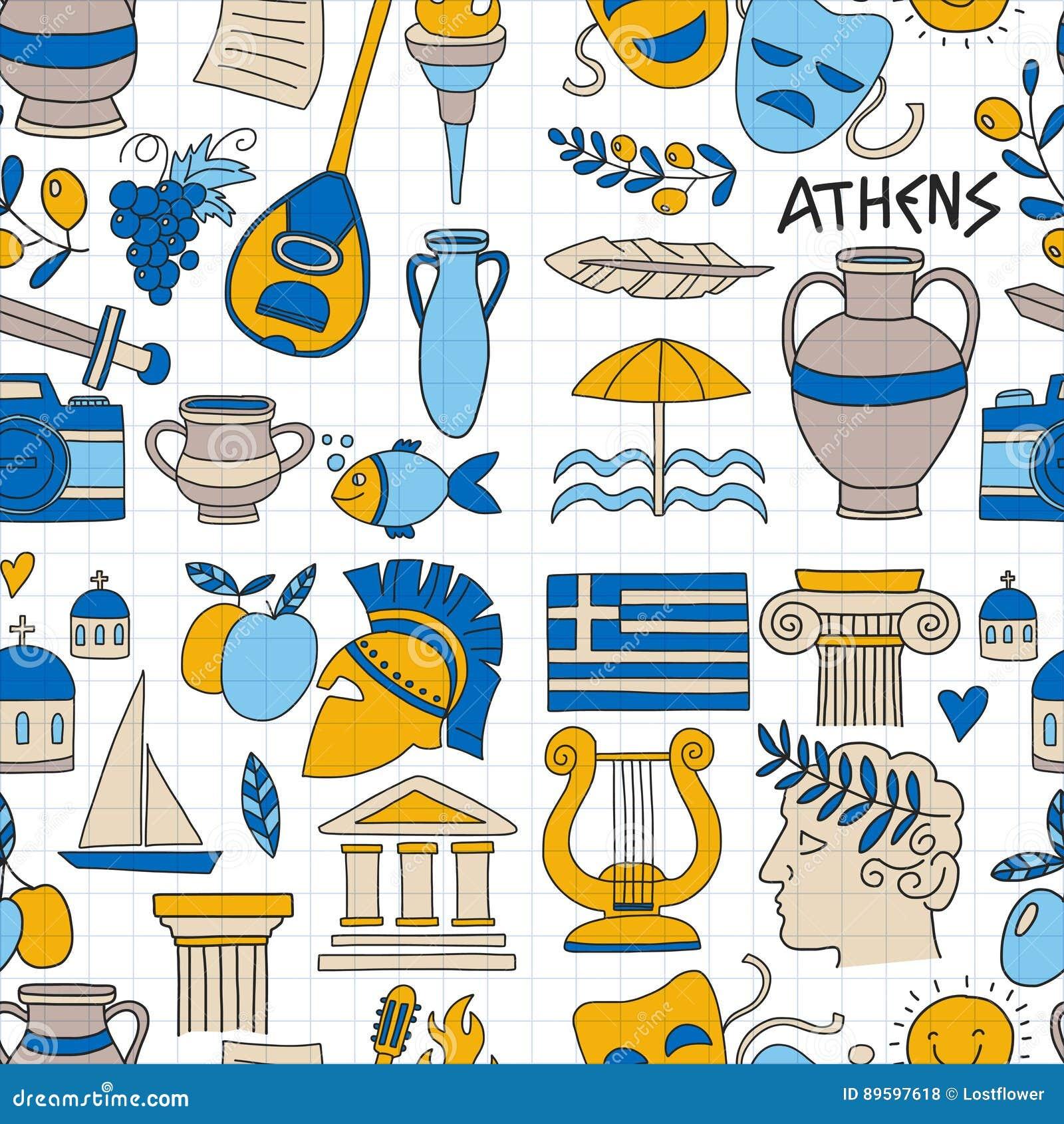 Antyczni Grecja Wektorowi elementy w doodle stylu Podróżują, historia, muzyka, jedzenie, wino