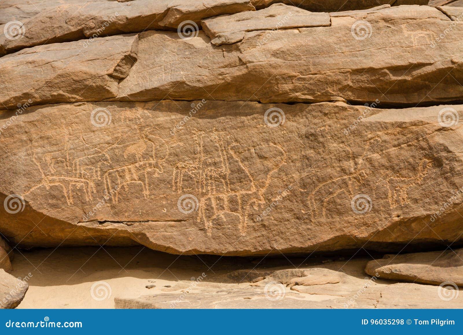 Antyczni zwierzęcy petroglify przy Sabu Sudan