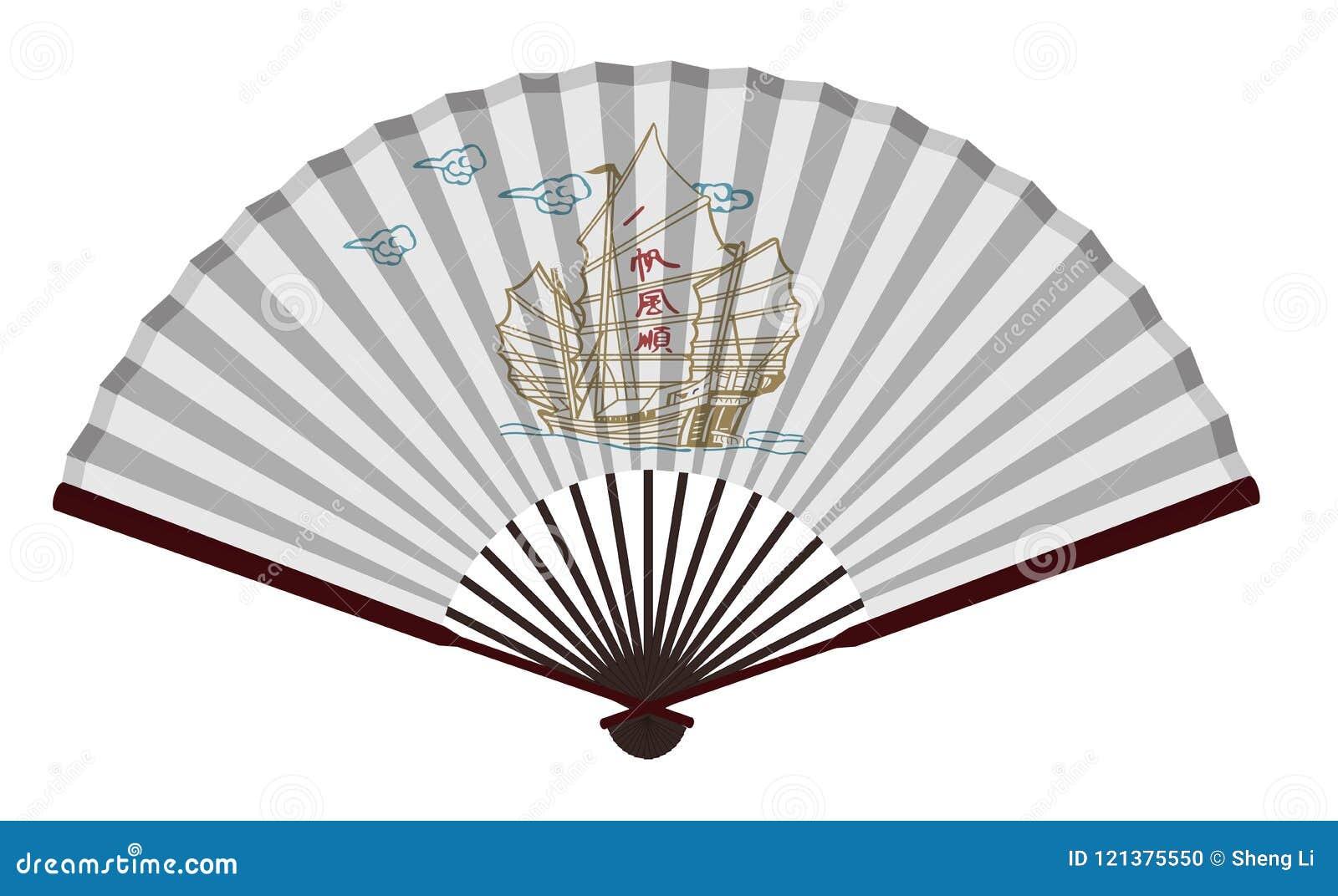 Antyczny Chiński fan Z żeglowanie łodzią