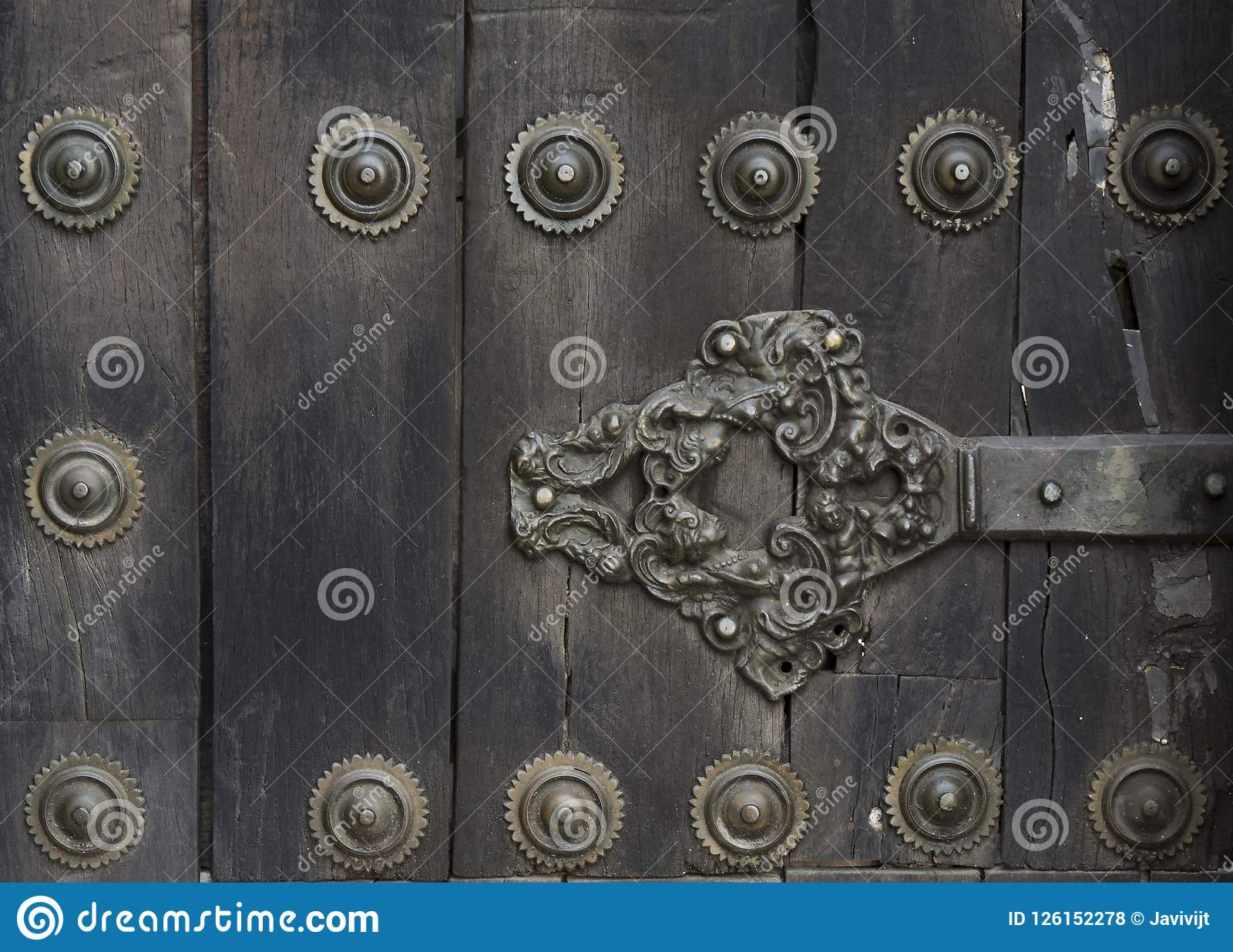 Antyczny drzwi średniowieczny kasztel