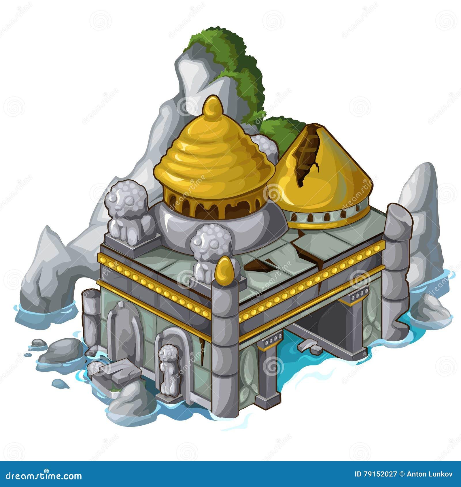 Antyczny kasztel obok wody i skały wektor