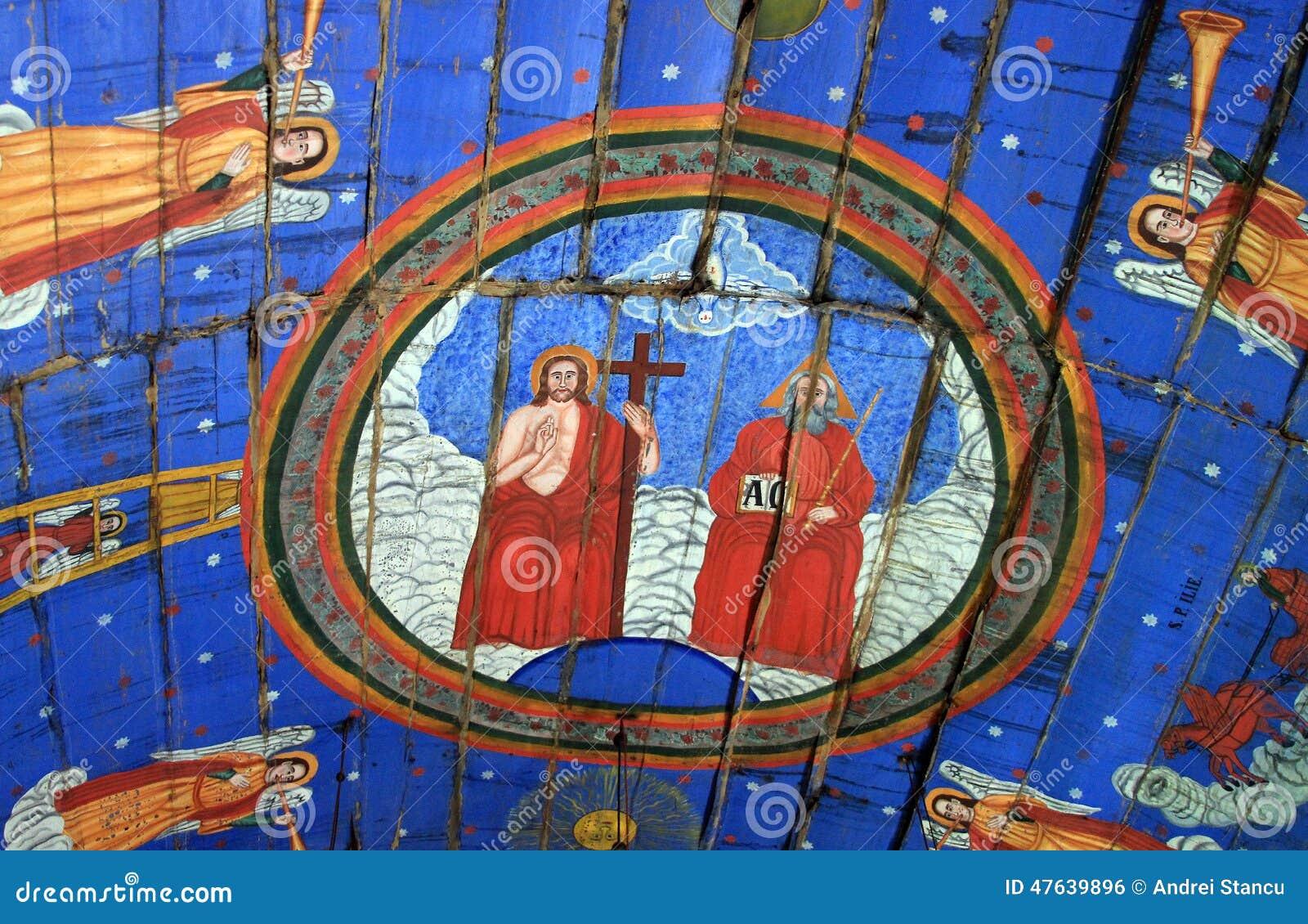 Antyczny malowidło ścienne fresk w Rumunia