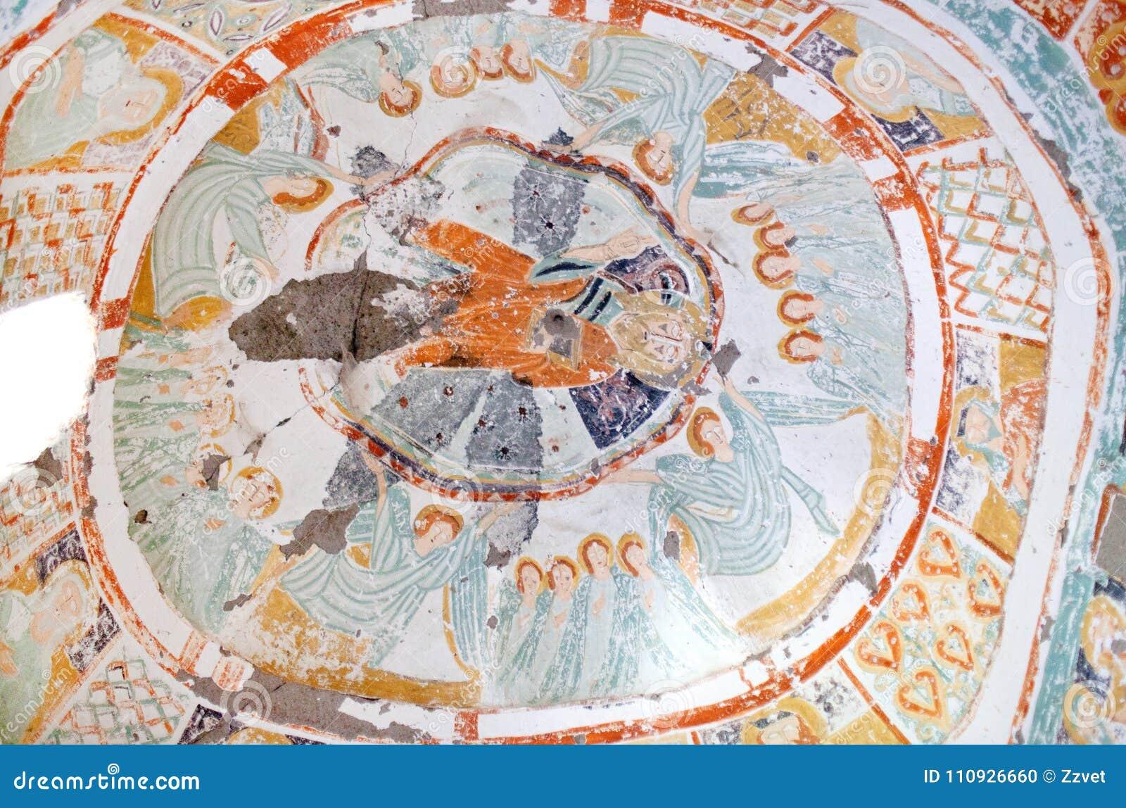Antyczny malowidło ścienne obraz w Agacalti Kilise, Cappadocia, Turcja