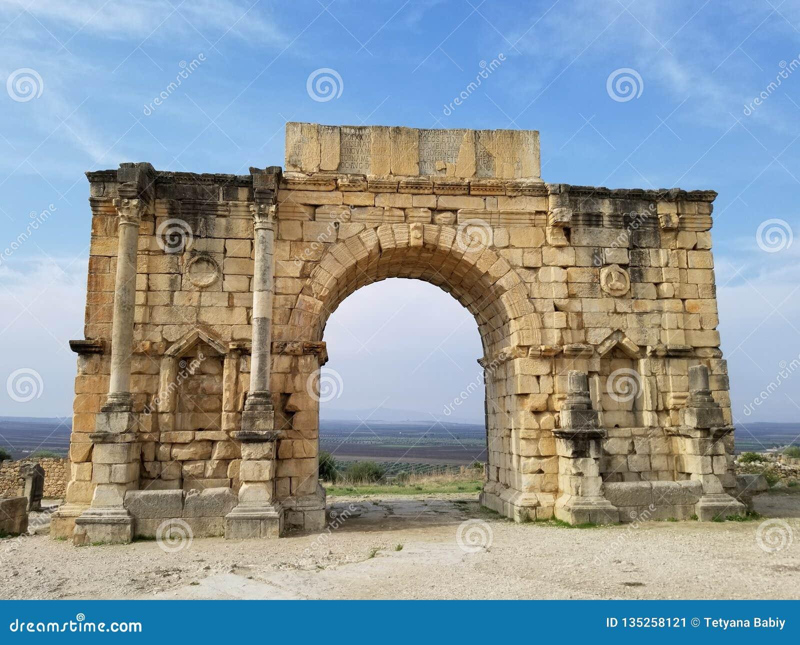 Antyczny Romański miasto Volubilis, Maroko