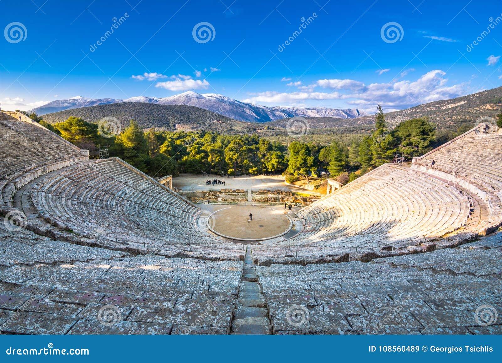 Antyczny teatr Epidaurus lub ` Epidavros `, Argolida prefektura, Peloponnese