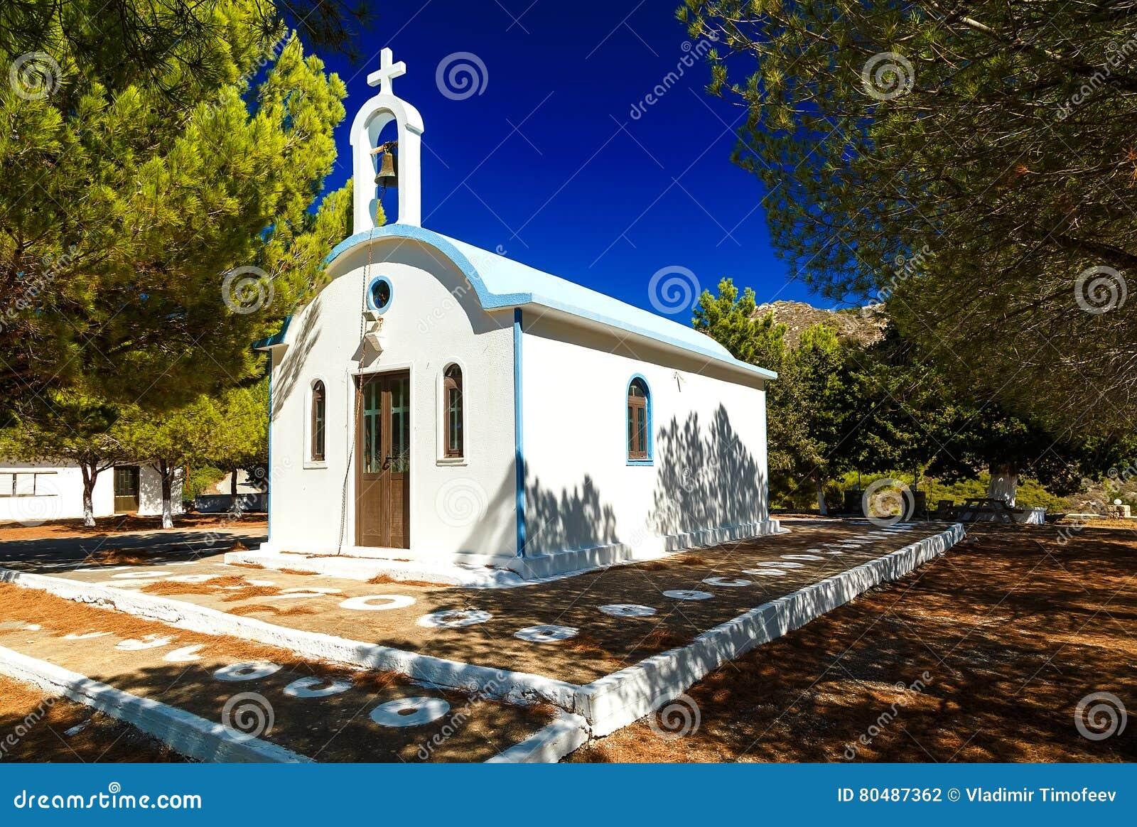 Antyczny Typowy Grecki kościół na Rhodes wyspie, Grecja
