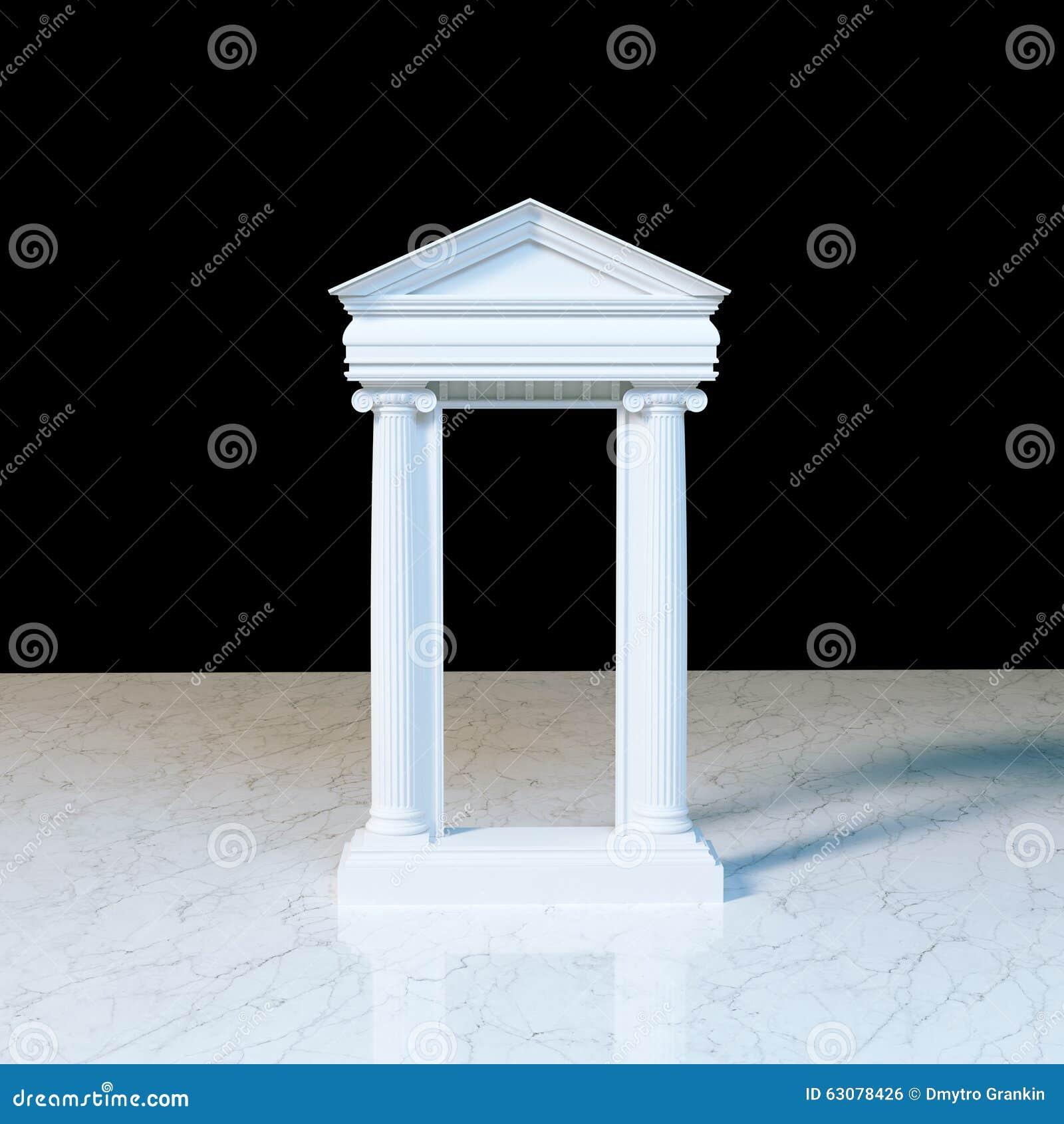 Antyk świątyni marmurowy przód z ionic kolumnami na marmurze