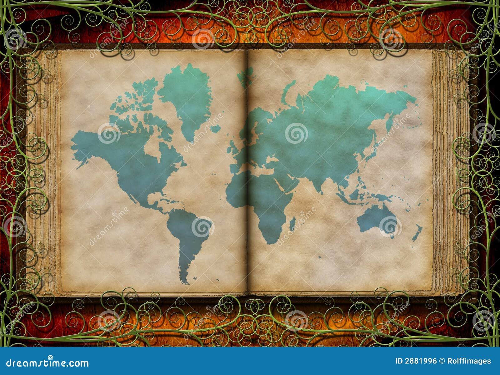 Antyk książki mapy świata
