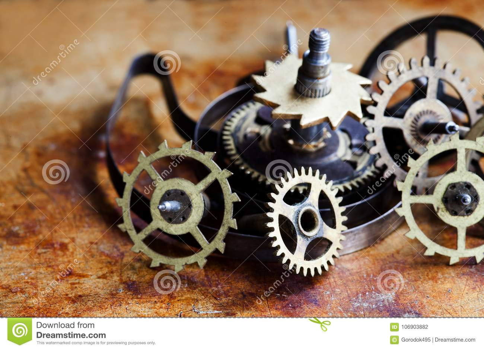 Antyka mechanizmu steampunk stylu cogs przekładni kół zegarowy makro- widok Rocznika metalu powierzchni ośniedziały tło, płycizna