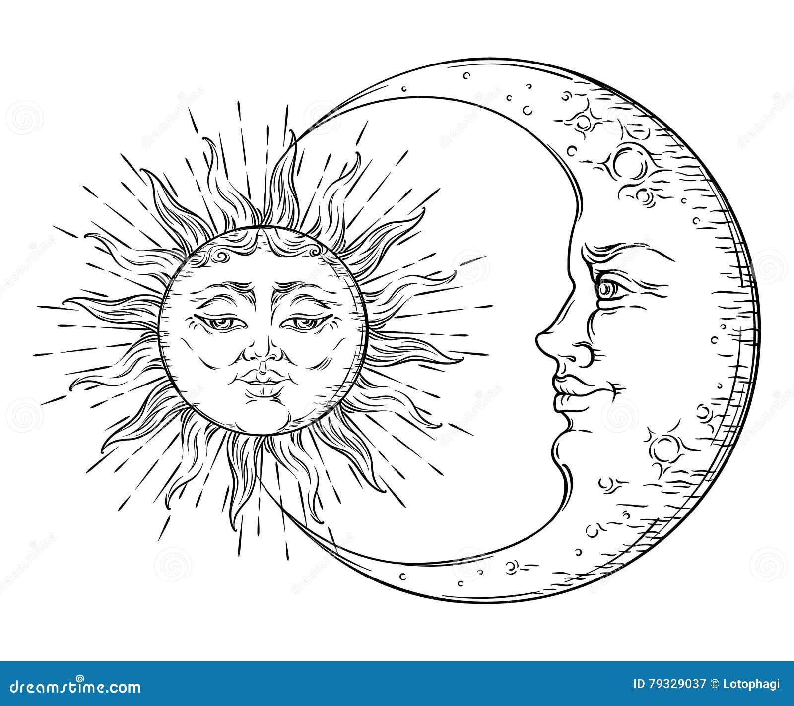 Antyka Stylu Sztuki Ręka Rysujący Słońce I Półksiężyc