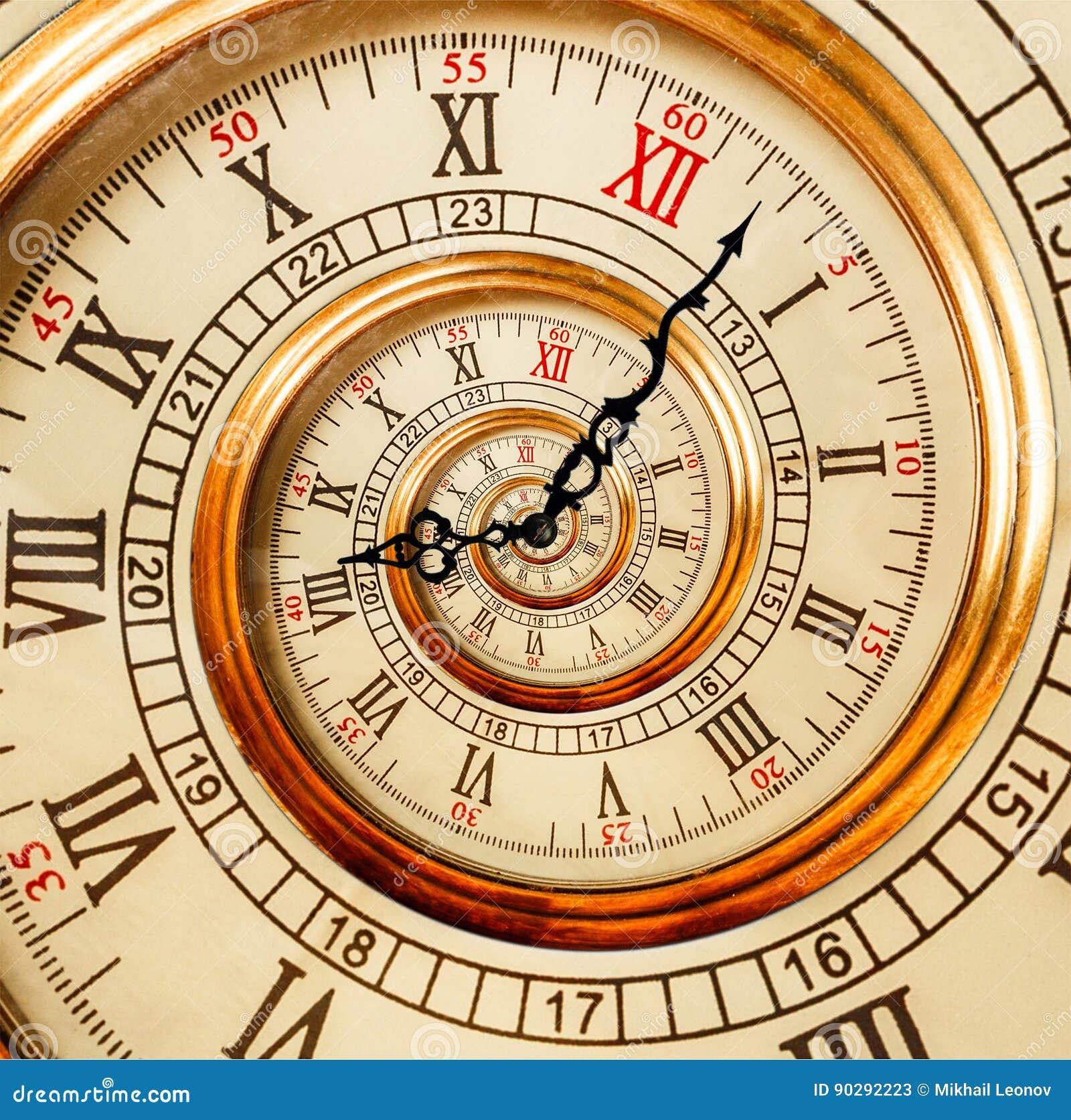Antykwarska stara zegarowa abstrakcjonistyczna fractal spirala Zegarek zegarowy niezwykły a