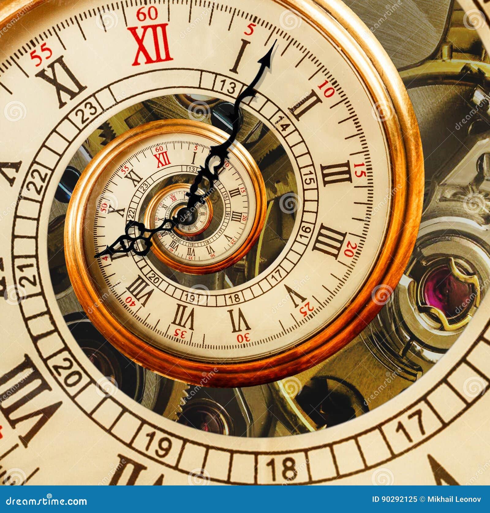 Antykwarska stara zegarowa abstrakcjonistyczna fractal spirala Zegarka zegarowy mechanizm