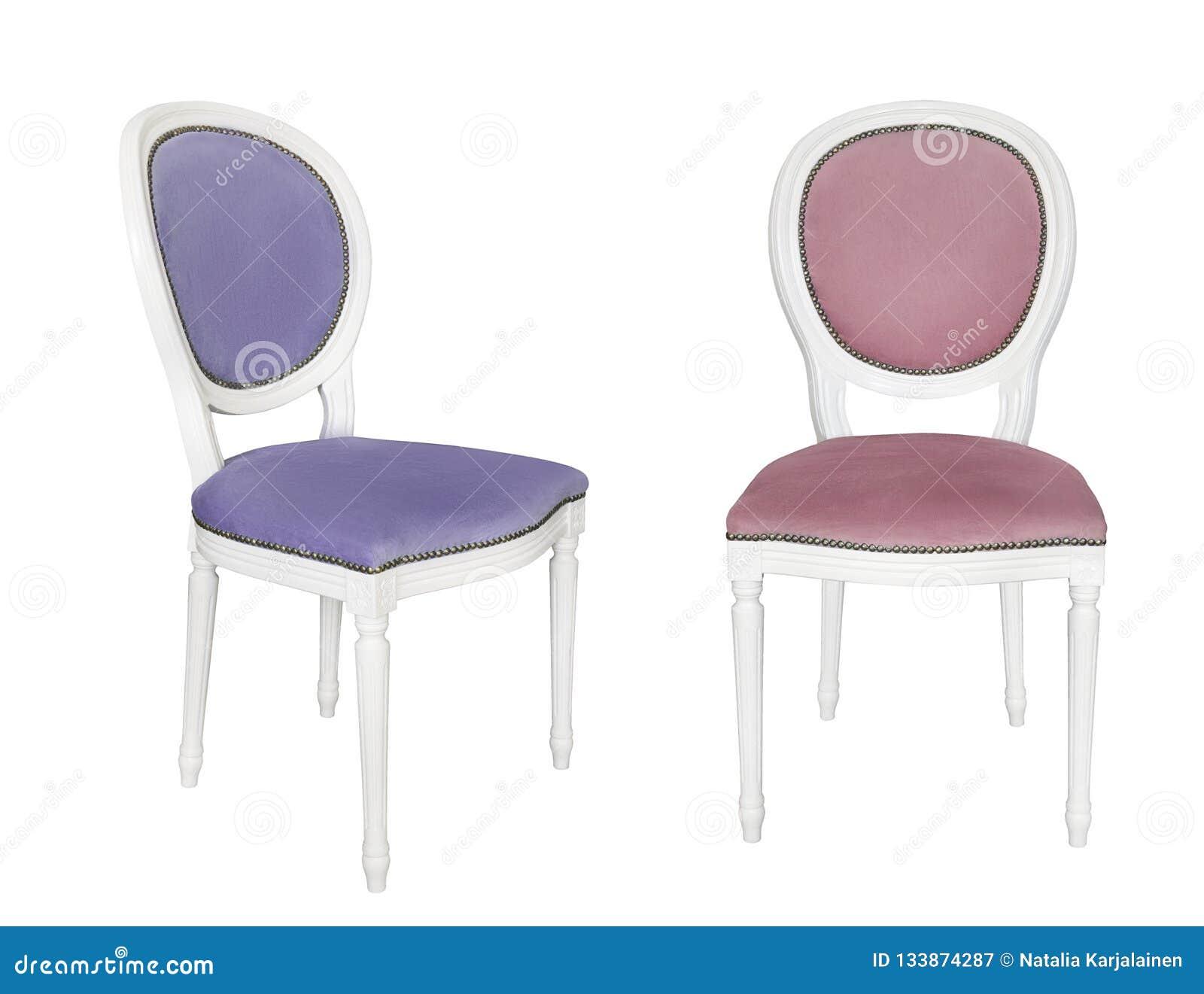Antykwarski biały krzesło z błękitnym tapicerowaniem