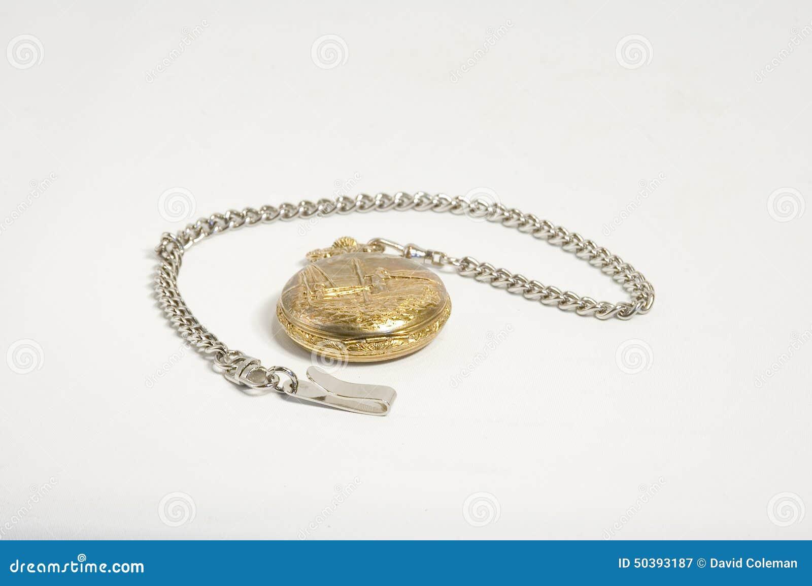 Antykwarski płaski złocisty grafiki kieszeni widok zegarek