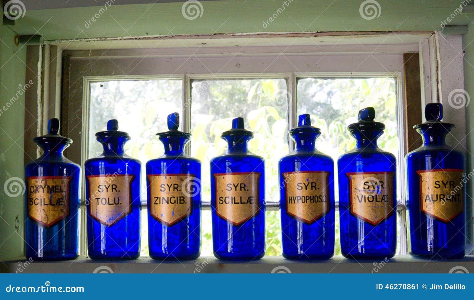 Antykwarskie Błękitne Apothecary butelki
