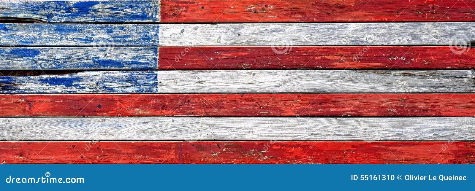 Antykwarskiej Drewnianej deski USA Zmodyfikowana flaga amerykańska