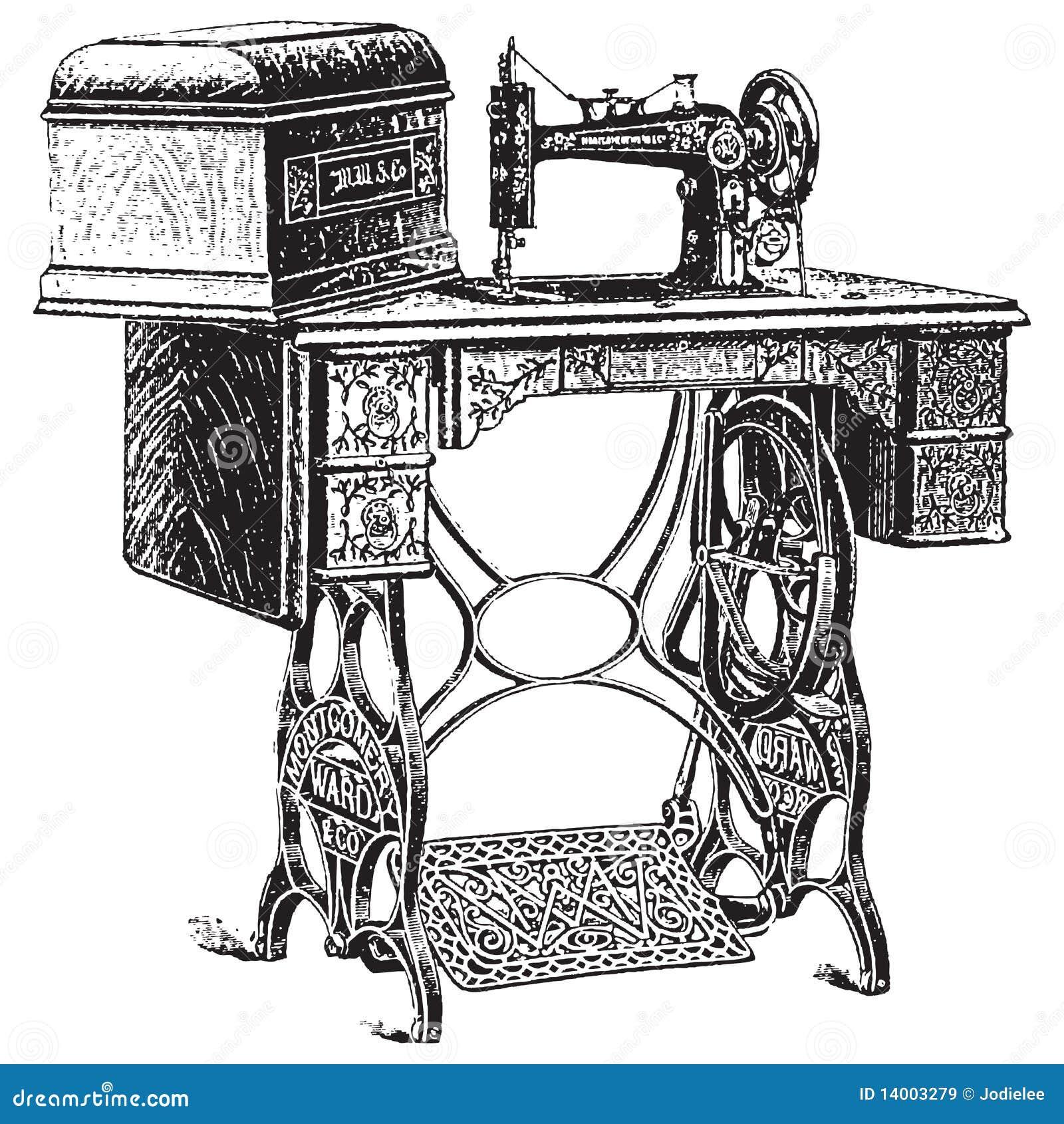 Antykwarskiej ilustraci maszynowy szwalny wektor