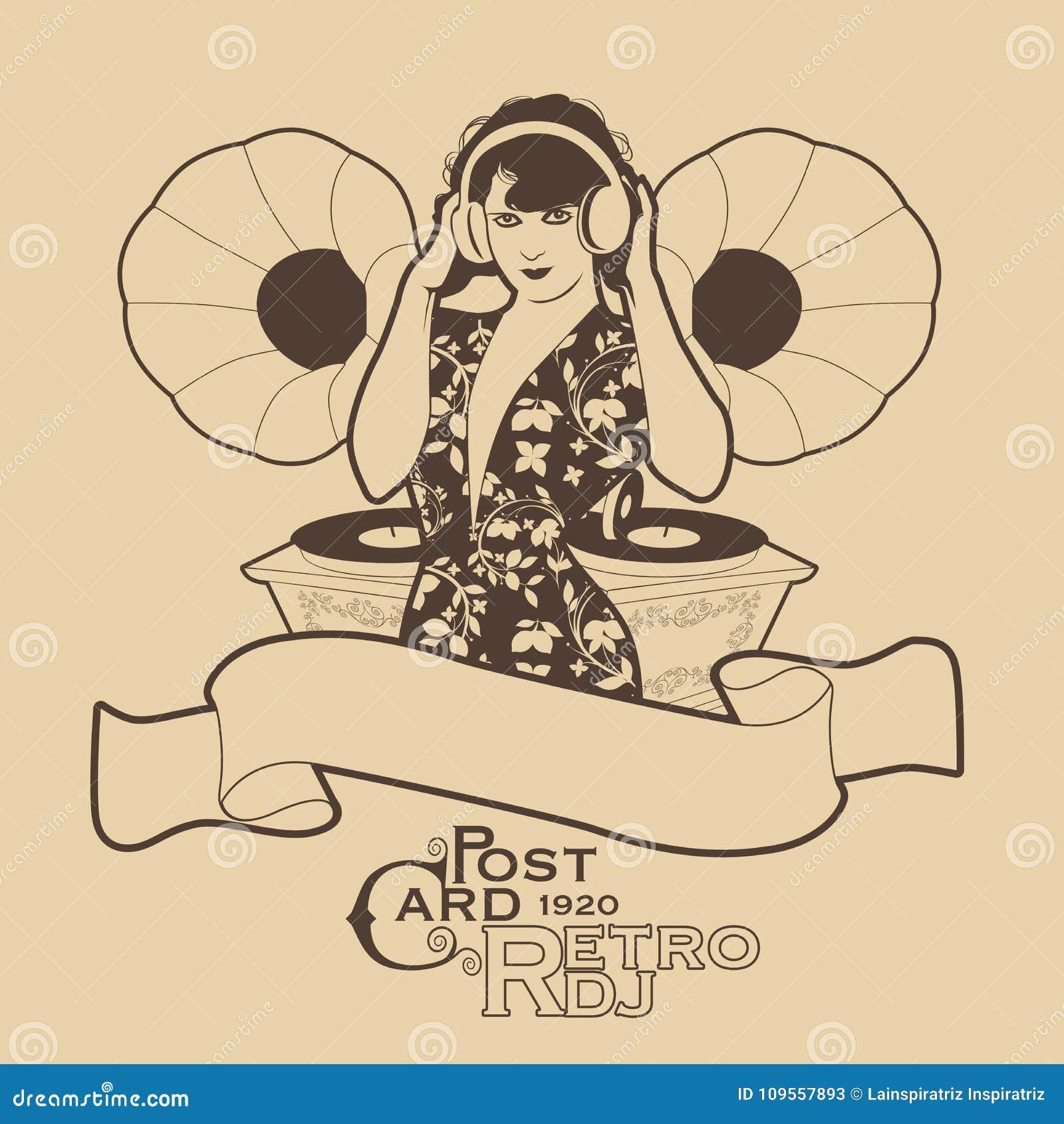 Antykwarskiej pocztę collectible pocztówki z przedmiotem rocznik DJ kobiety retro styl z hełmofonami wśród roczników gramofonów
